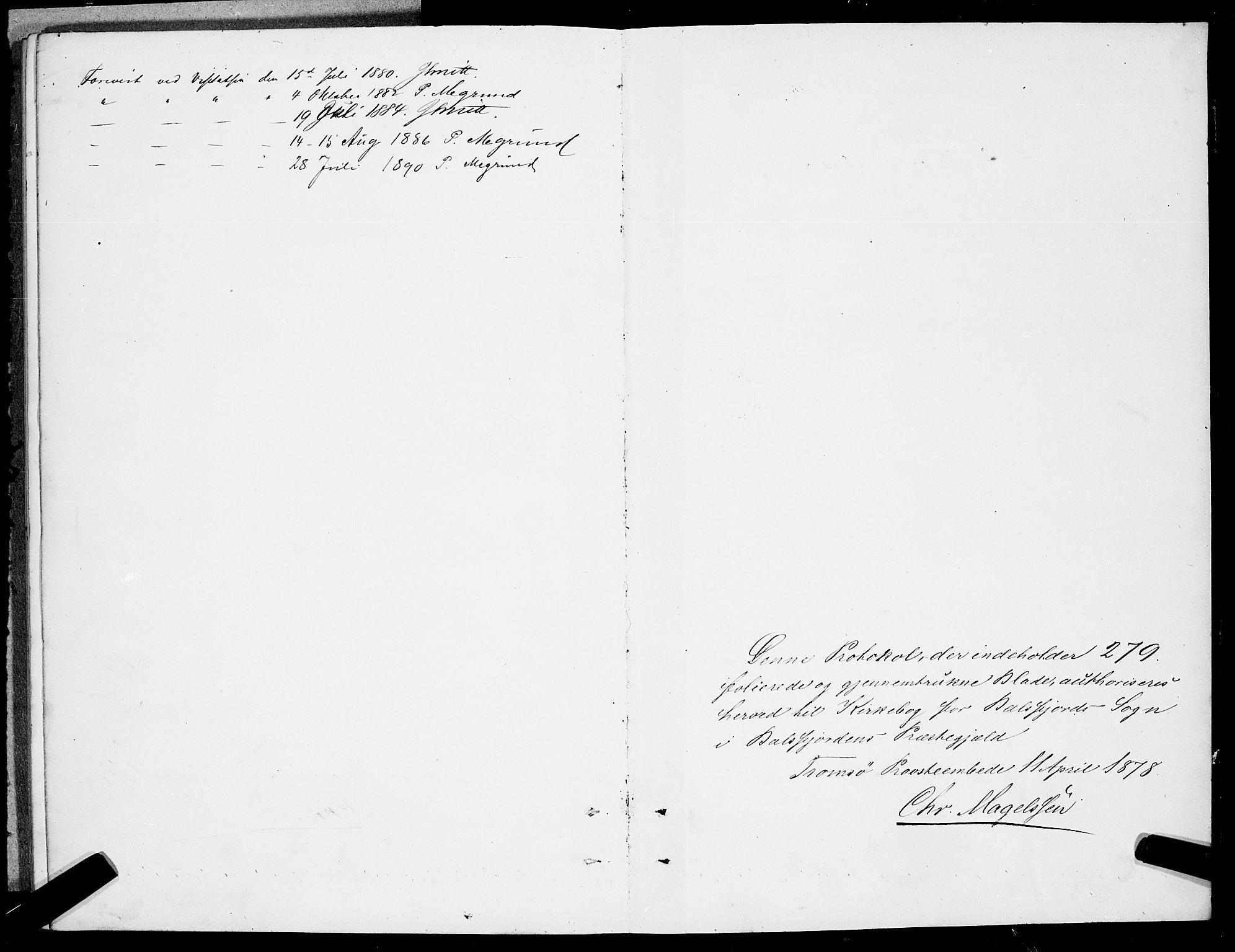 SATØ, Balsfjord sokneprestembete, Parish register (copy) no. 7, 1878-1889