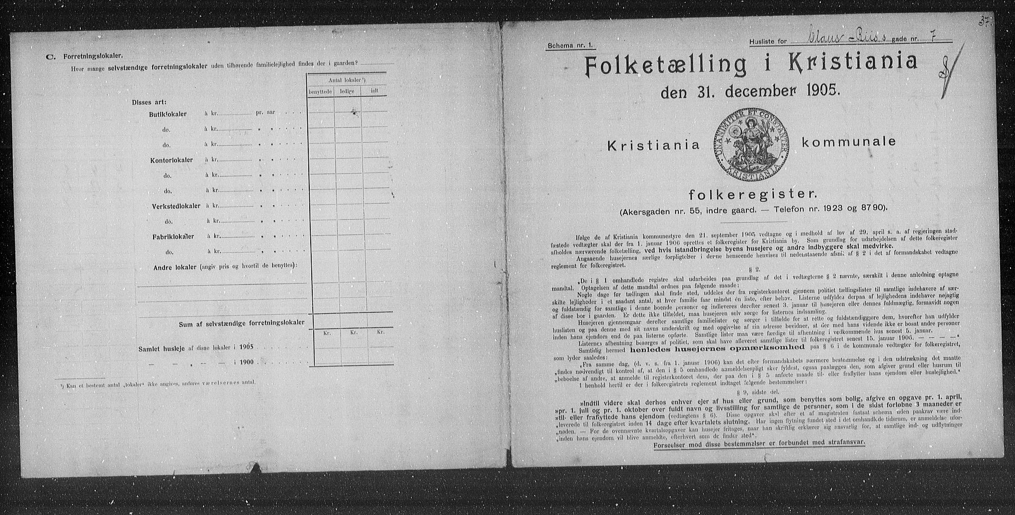 OBA, Municipal Census 1905 for Kristiania, 1905, p. 6689