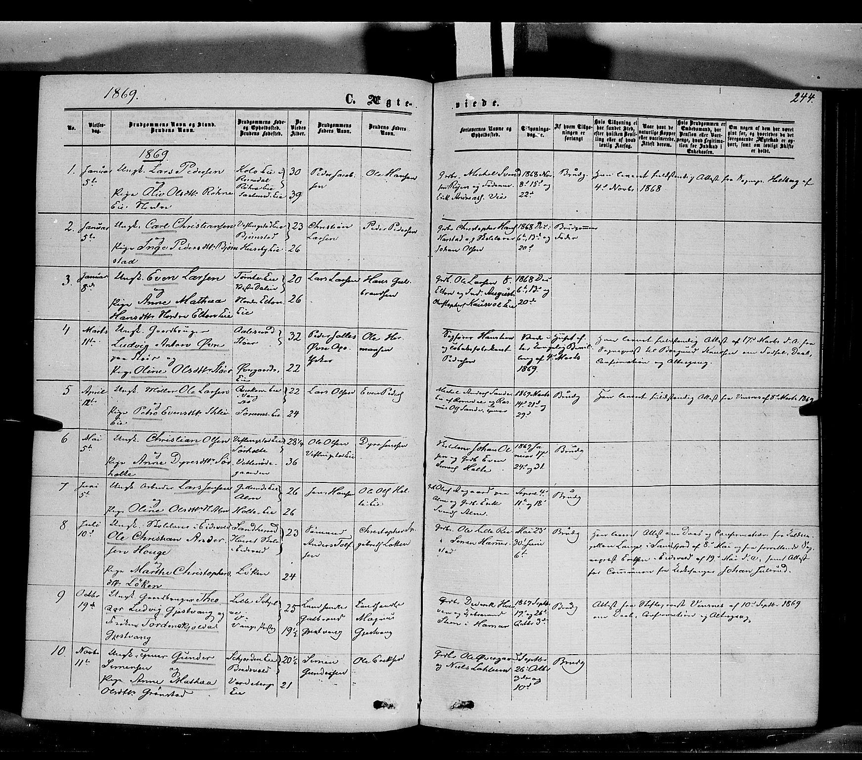 SAH, Stange prestekontor, K/L0013: Parish register (official) no. 13, 1862-1879, p. 244