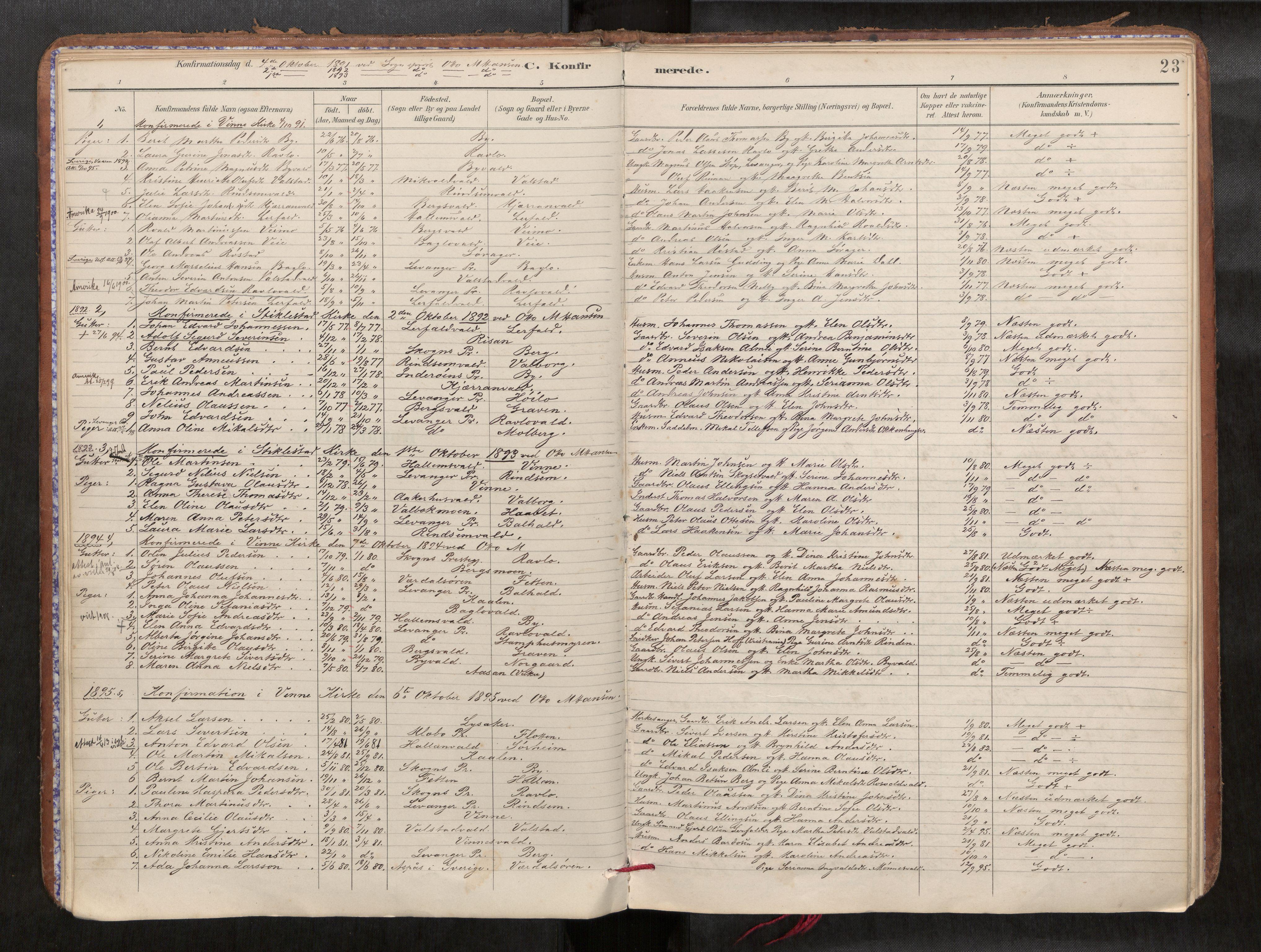 SAT, Verdal sokneprestkontor*, Parish register (official) no. 1, 1891-1907, p. 23