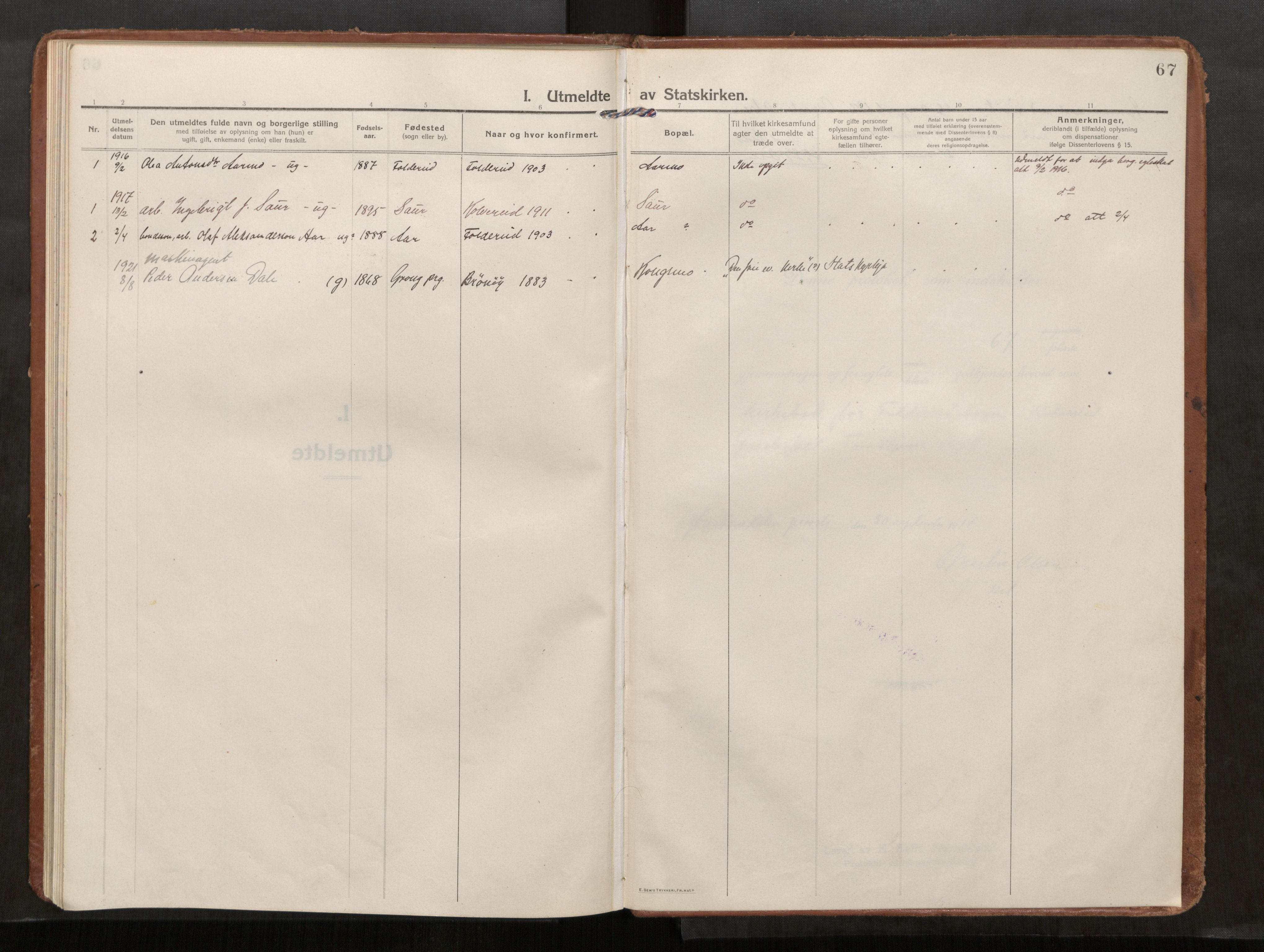 SAT, Kolvereid sokneprestkontor, H/Ha/Haa/L0002: Parish register (official) no. 2, 1914-1926, p. 67