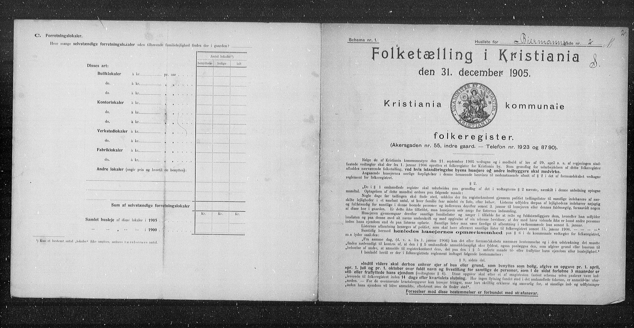 OBA, Municipal Census 1905 for Kristiania, 1905, p. 2320
