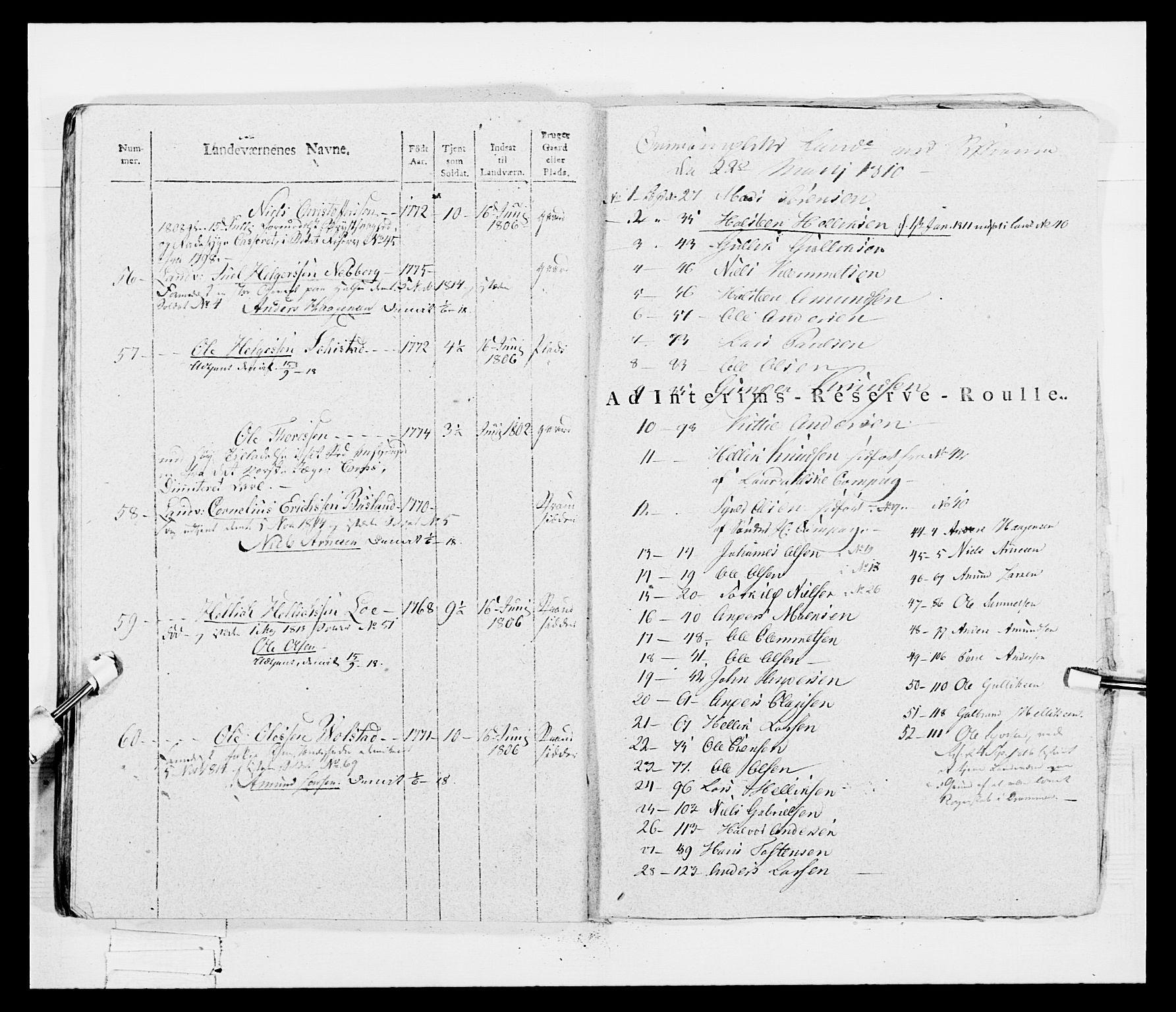 RA, Generalitets- og kommissariatskollegiet, Det kongelige norske kommissariatskollegium, E/Eh/L0047: 2. Akershusiske nasjonale infanteriregiment, 1791-1810, p. 562