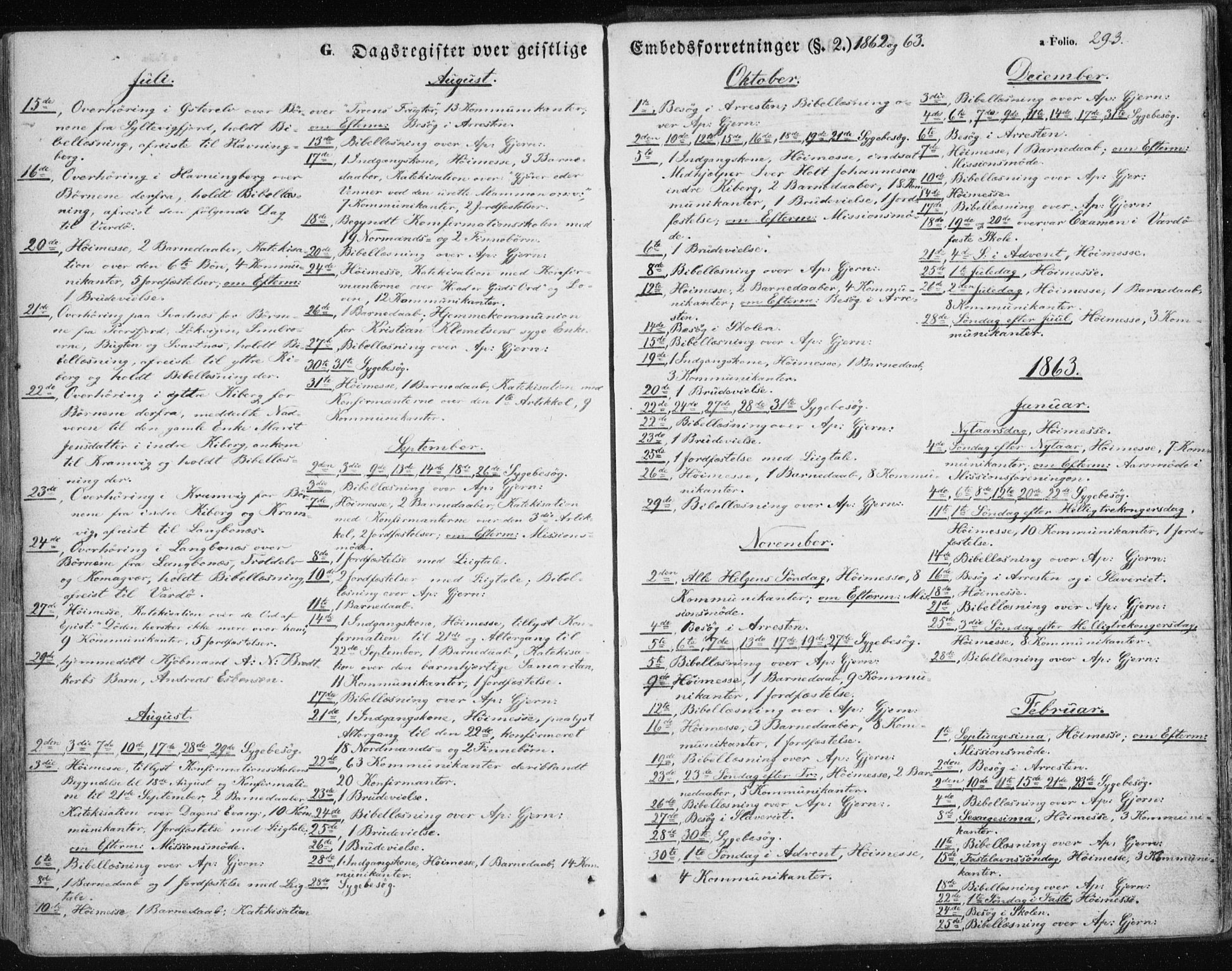 SATØ, Vardø sokneprestkontor, H/Ha/L0004kirke: Parish register (official) no. 4, 1862-1871, p. 293