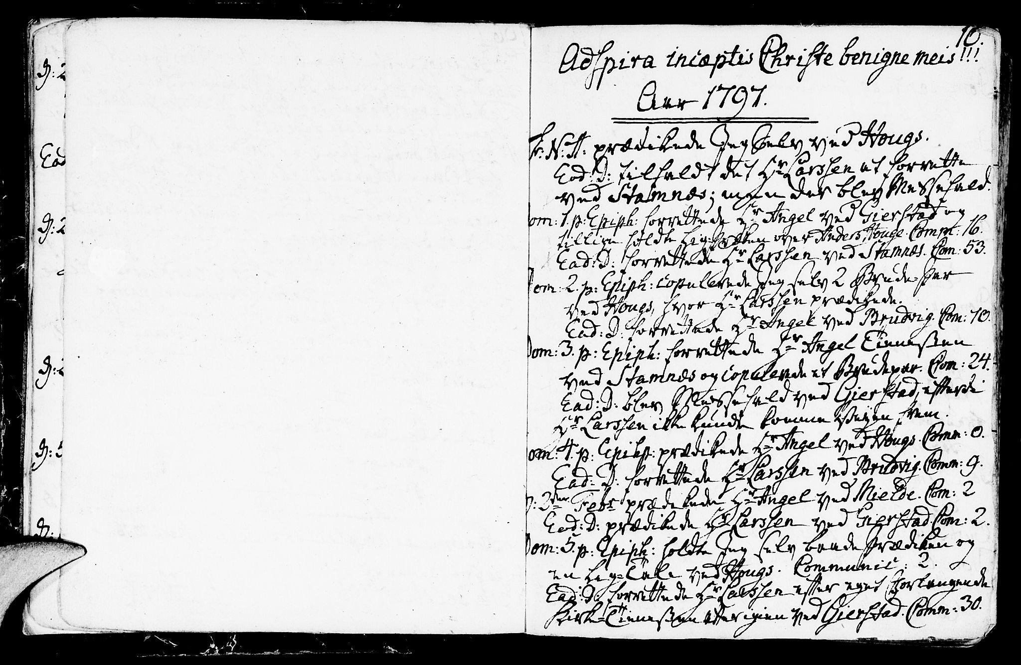SAB, Haus sokneprestembete, H/Haa: Parish register (official) no. A 11, 1796-1816, p. 10