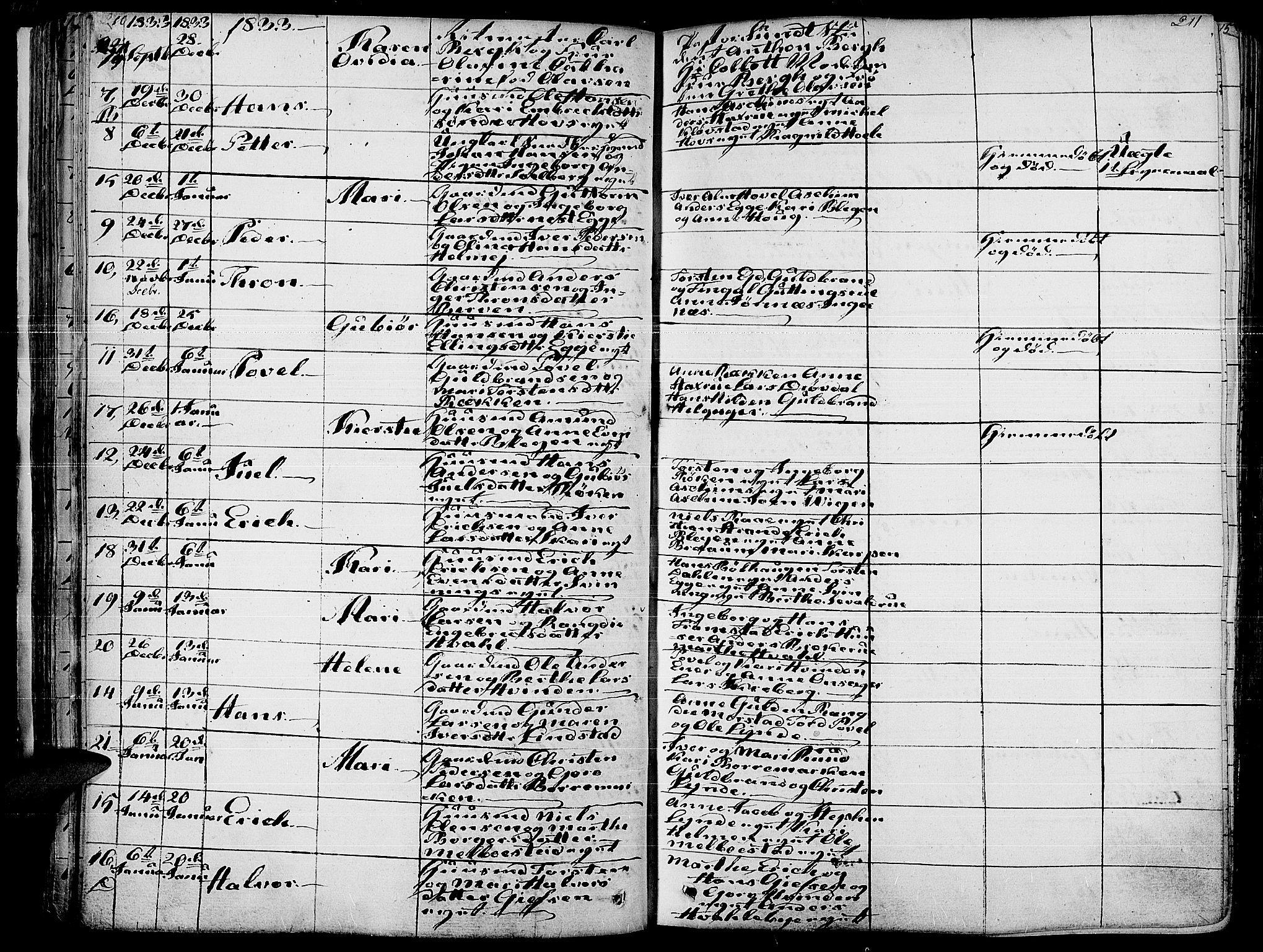 SAH, Gran prestekontor, Parish register (official) no. 10, 1824-1842, p. 210-211