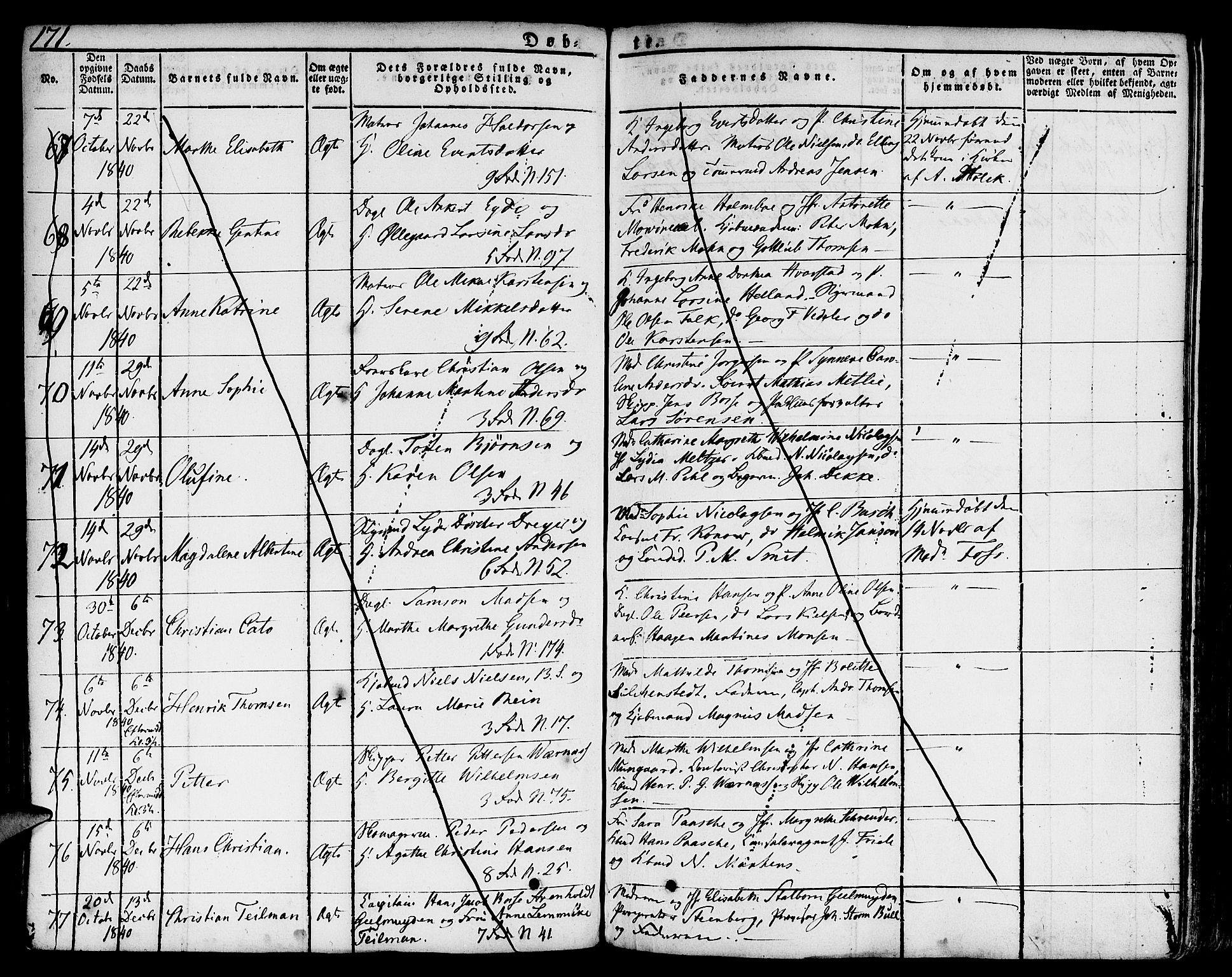 SAB, Nykirken Sokneprestembete, H/Hab: Parish register (copy) no. A 5I, 1821-1841, p. 171