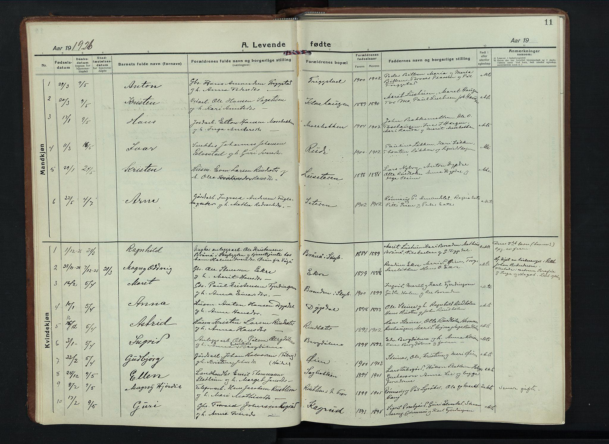 SAH, Sel prestekontor, Parish register (copy) no. 6, 1923-1953, p. 11