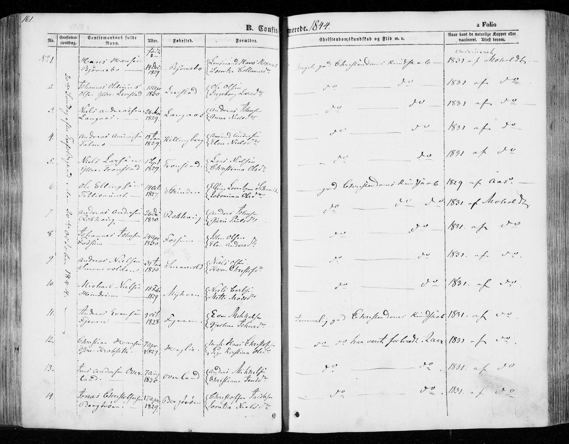 SAT, Ministerialprotokoller, klokkerbøker og fødselsregistre - Nord-Trøndelag, 701/L0007: Parish register (official) no. 701A07 /1, 1842-1854, p. 161