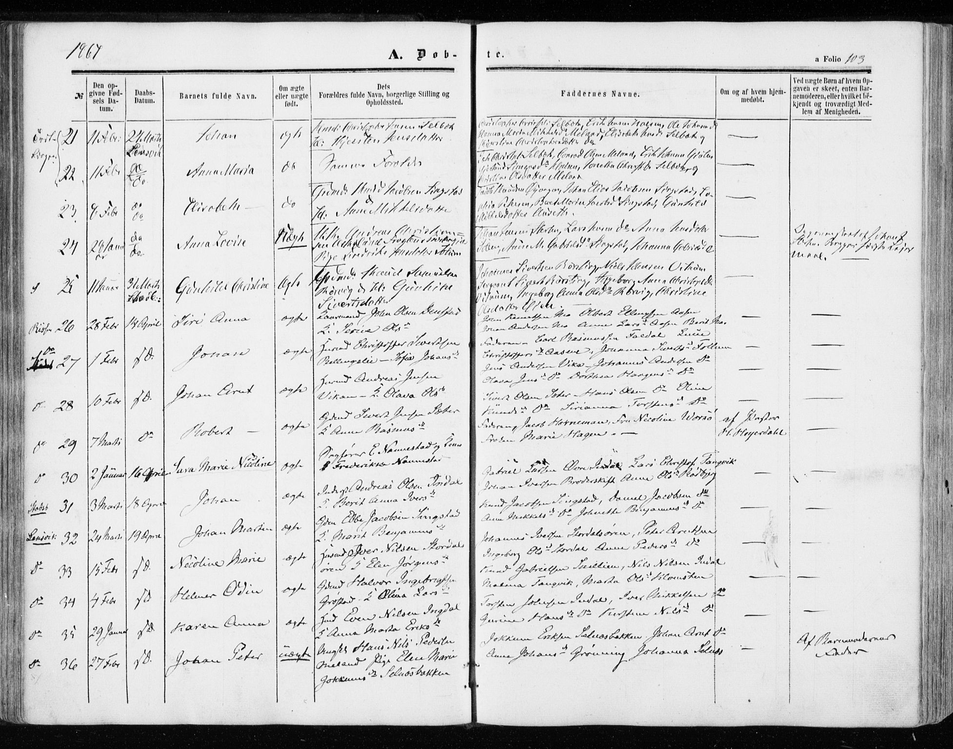 SAT, Ministerialprotokoller, klokkerbøker og fødselsregistre - Sør-Trøndelag, 646/L0612: Parish register (official) no. 646A10, 1858-1869, p. 103
