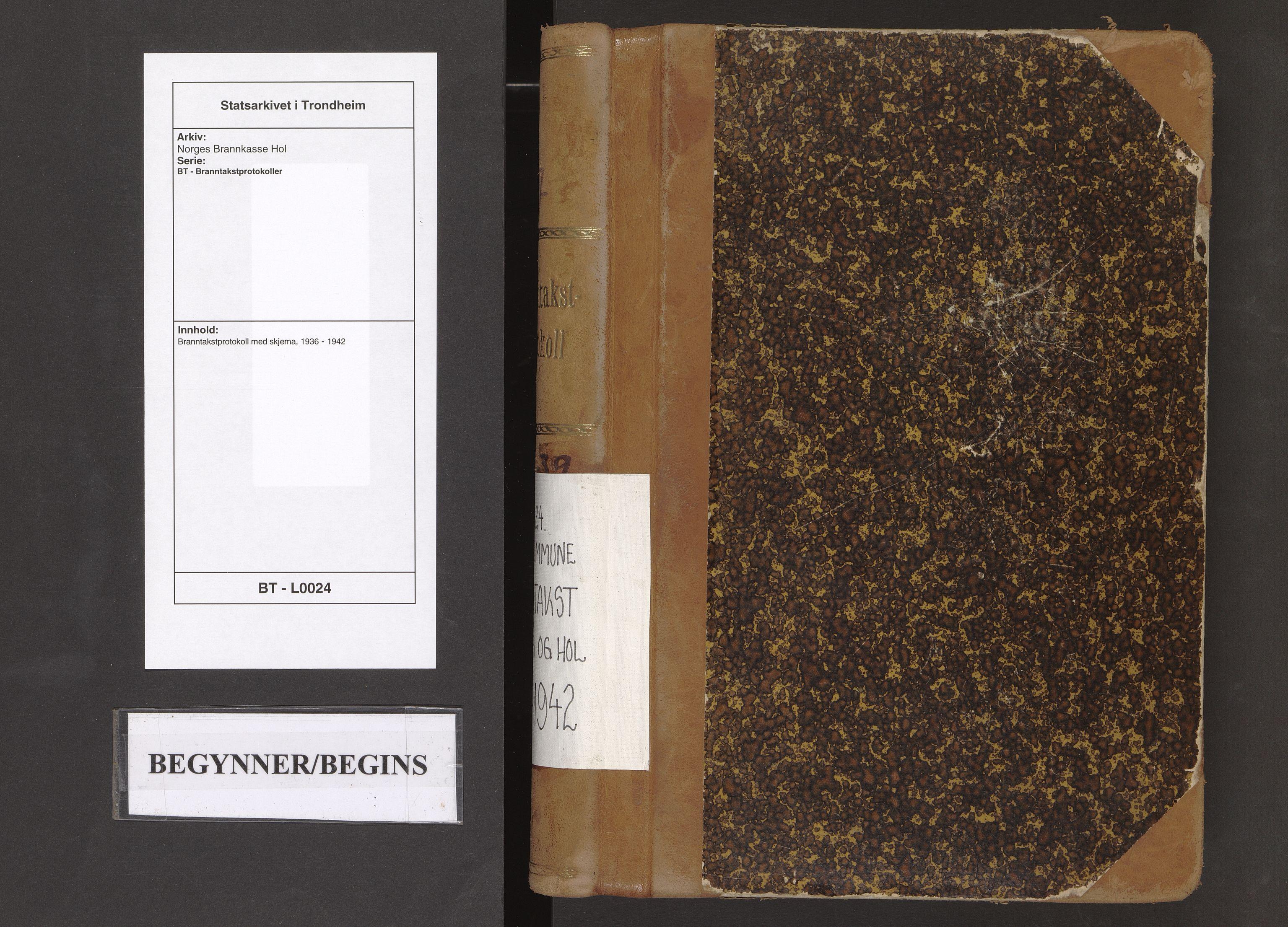 SAT, Norges Brannkasse Hol, BT/L0024: Branntakstprotokoll med skjema, 1936-1942