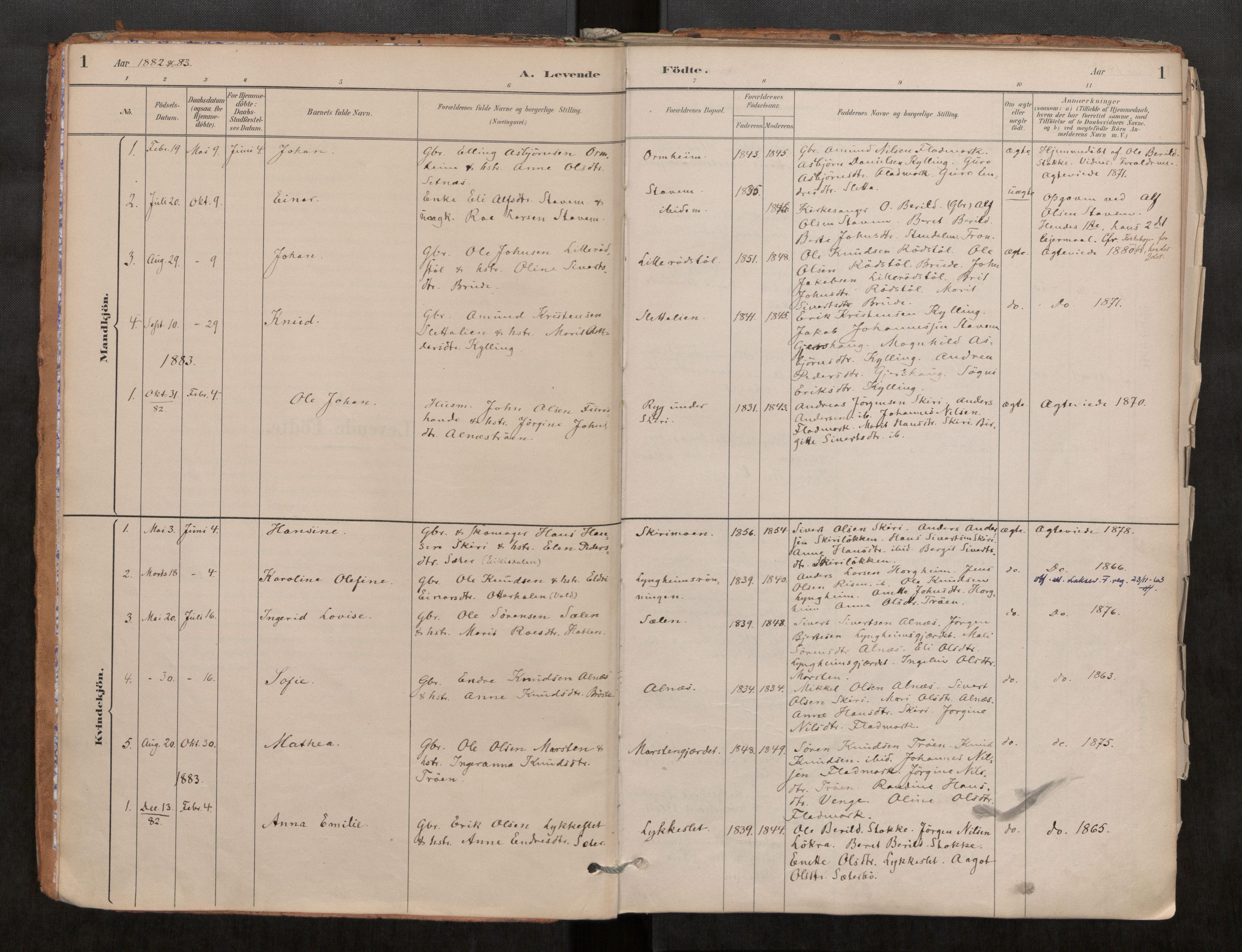 SAT, Grytten sokneprestkontor, Parish register (official) no. 546A03, 1882-1920, p. 1