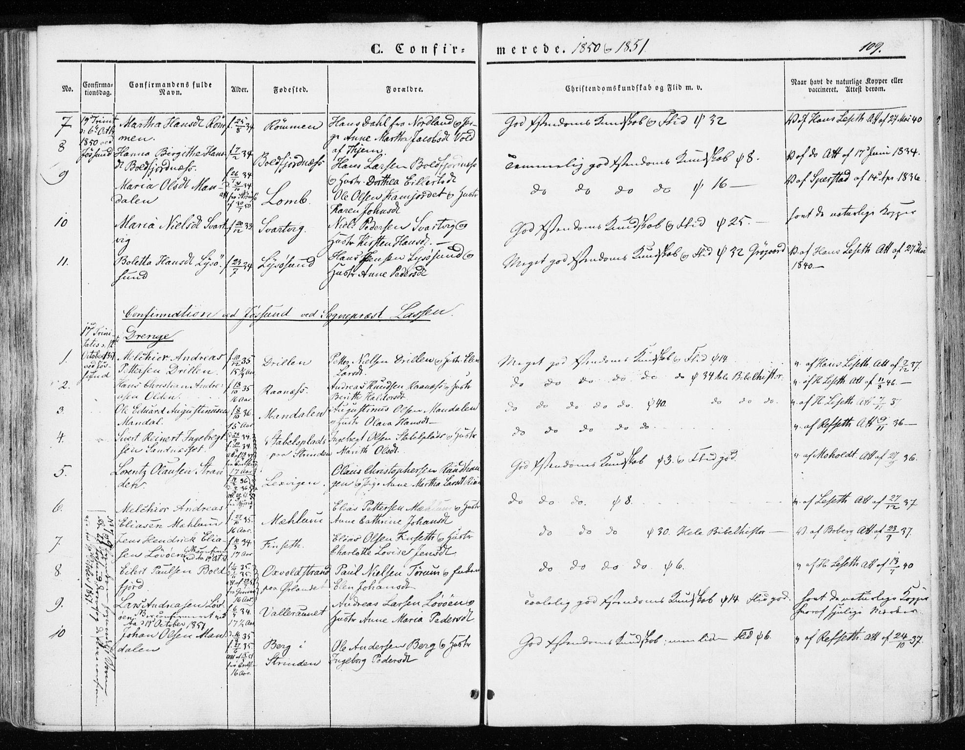 SAT, Ministerialprotokoller, klokkerbøker og fødselsregistre - Sør-Trøndelag, 655/L0677: Parish register (official) no. 655A06, 1847-1860, p. 109