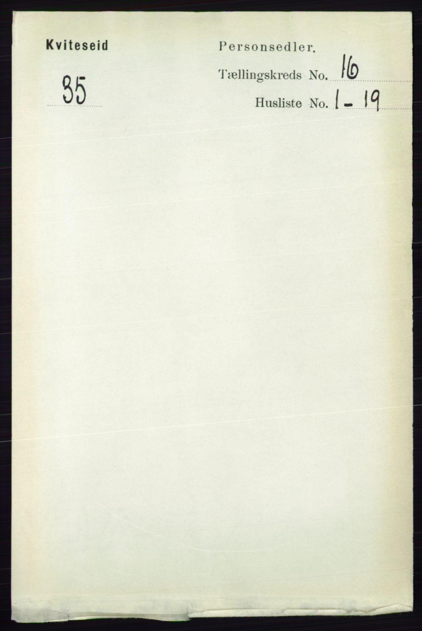 RA, 1891 census for 0829 Kviteseid, 1891, p. 3634