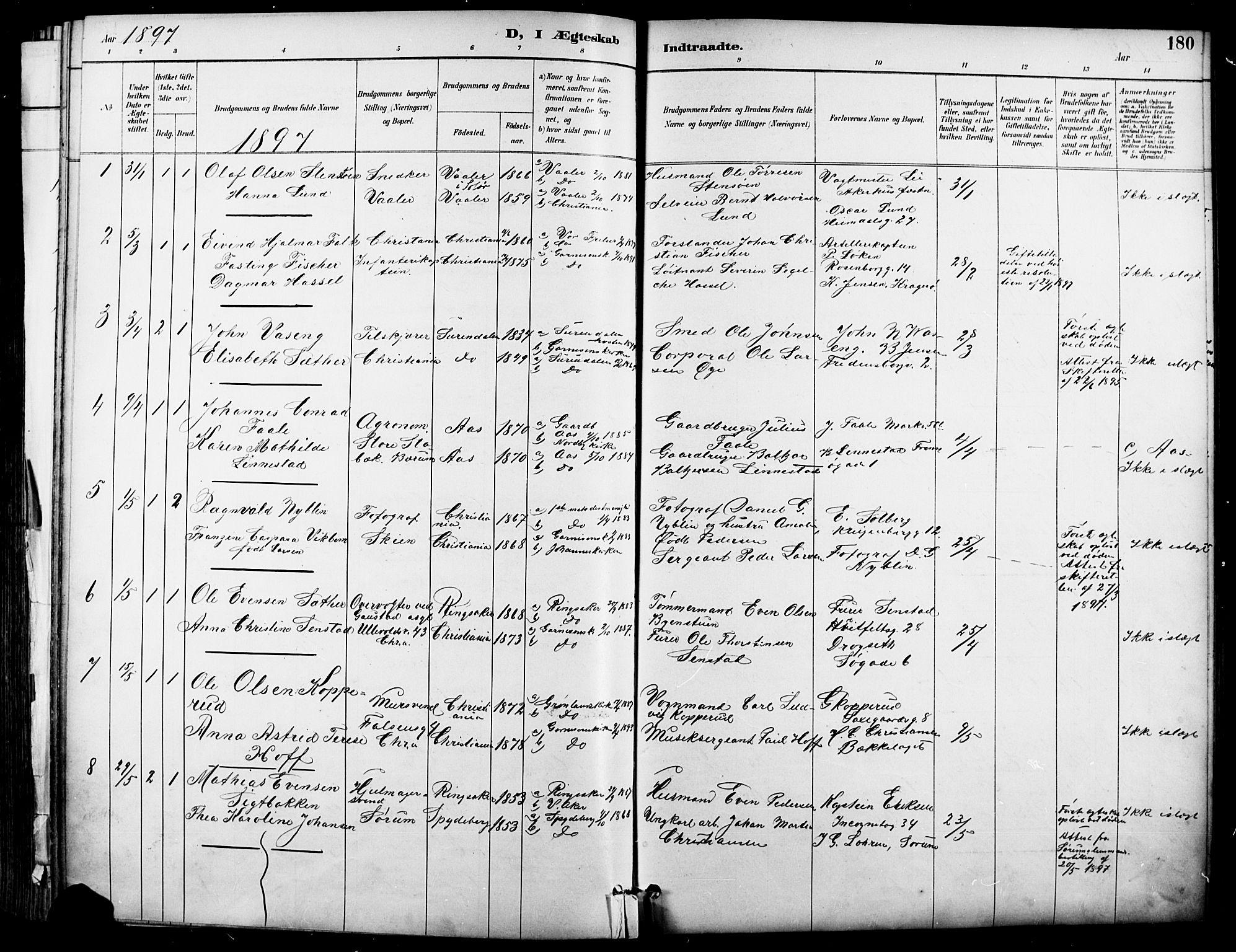 SAO, Garnisonsmenigheten Kirkebøker, F/Fa/L0013: Parish register (official) no. 13, 1894-1904, p. 180