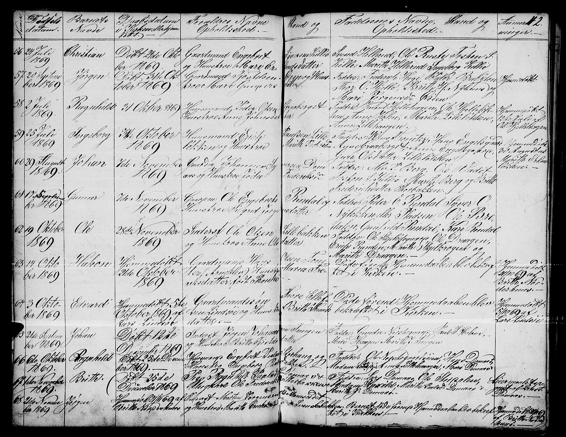 SAH, Dovre prestekontor, Parish register (copy) no. 1, 1862-1880, p. 42