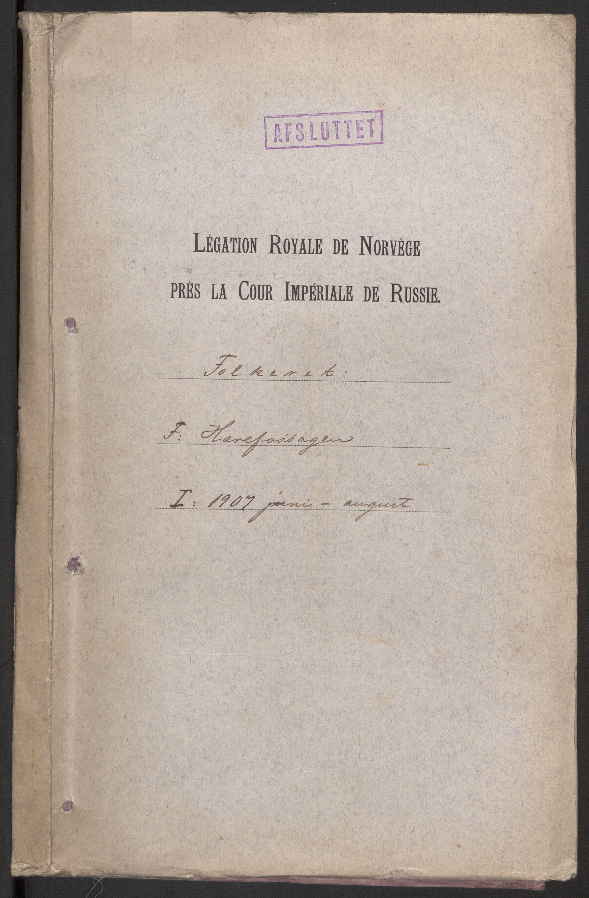RA, Utenriksstasjonene, Legasjonen i St. Petersburg, Russland, D/Da/L0013: --, 1907-1918, p. 1