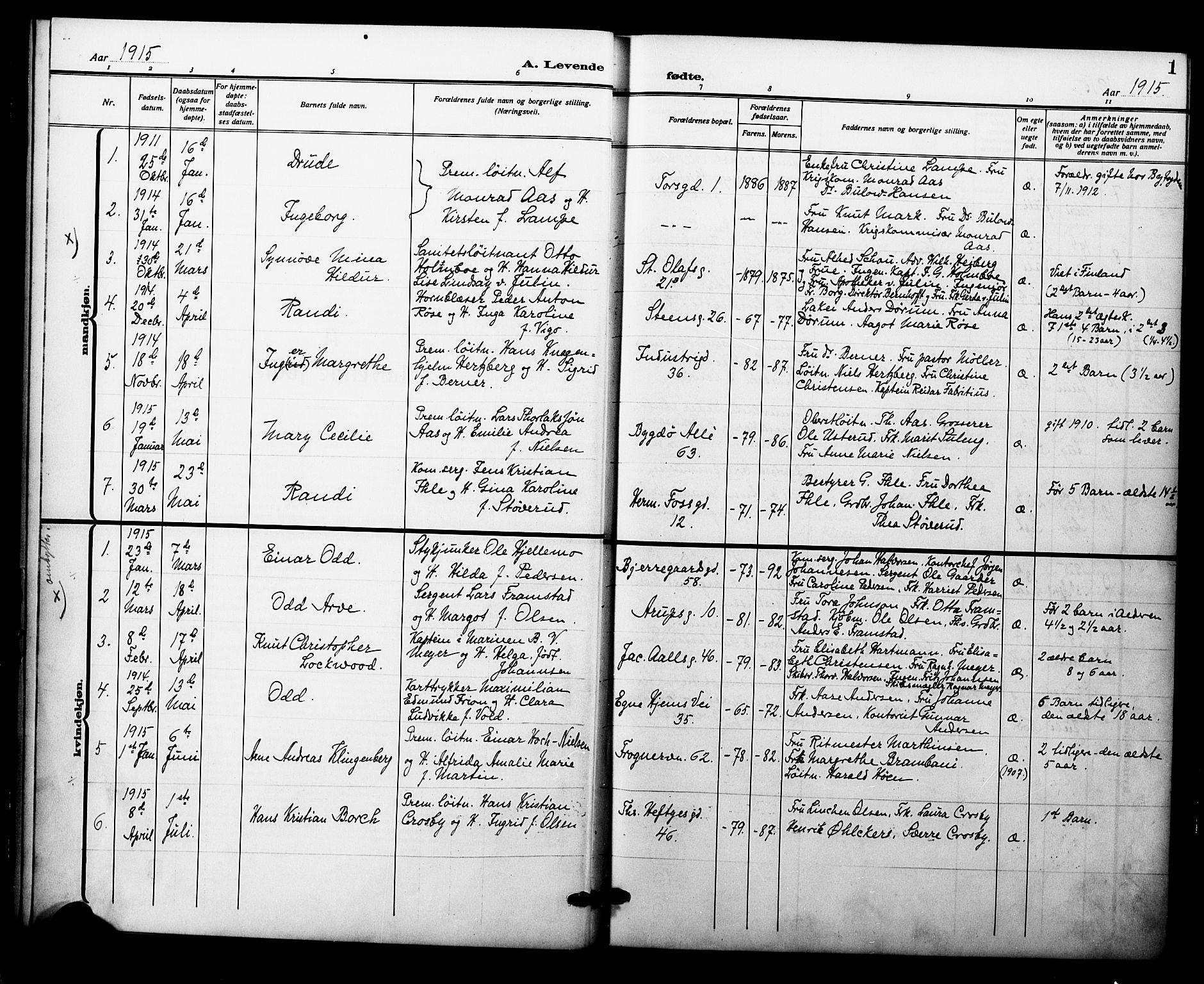 SAO, Garnisonsmenigheten Kirkebøker, F/Fa/L0015: Parish register (official) no. 15, 1915-1921, p. 1