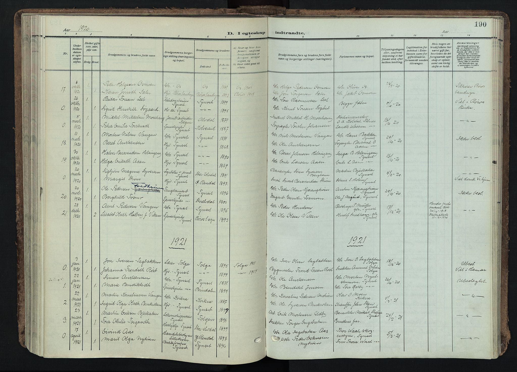 SAH, Tynset prestekontor, Parish register (official) no. 26, 1915-1929, p. 190