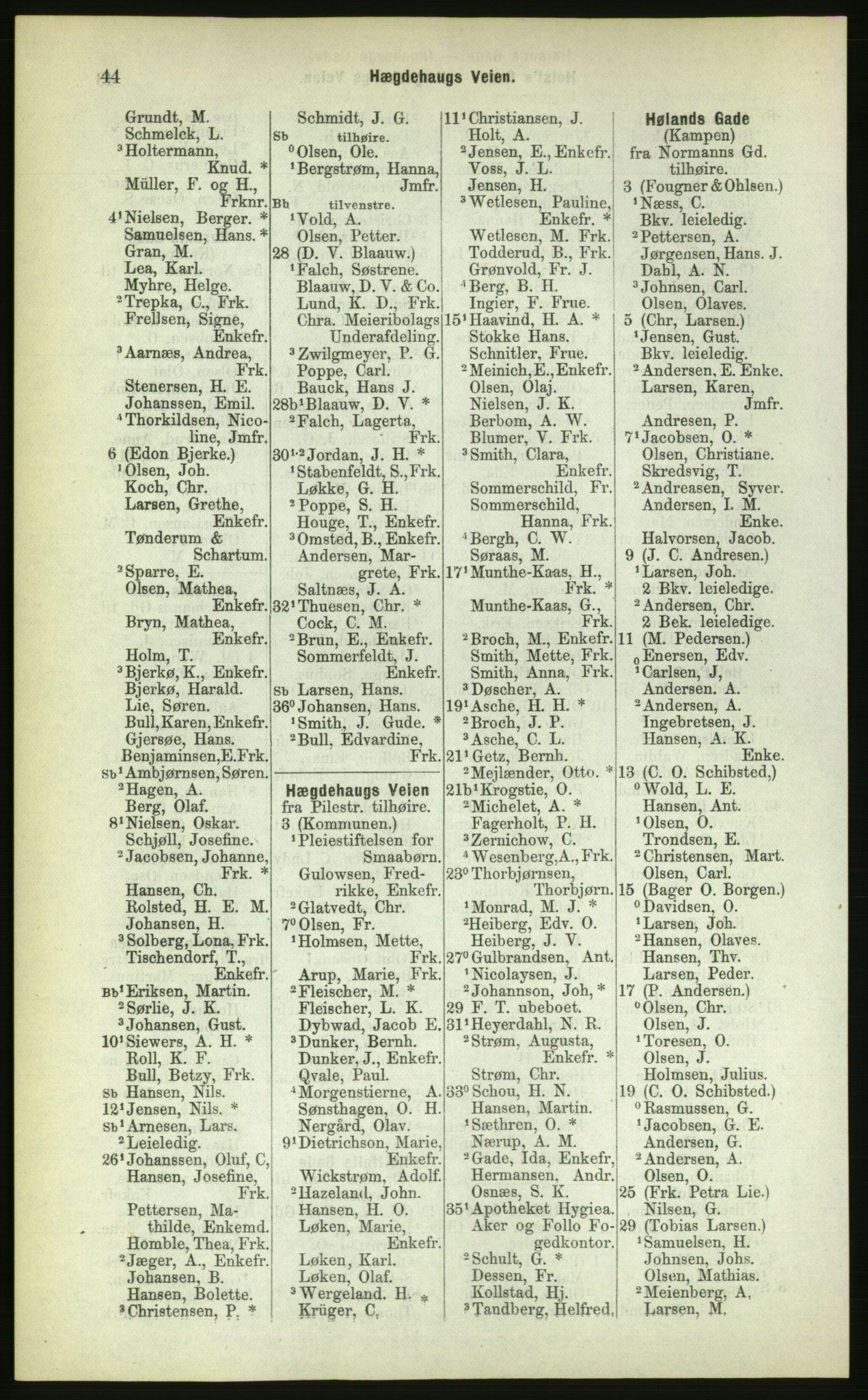 PUBL, Kristiania/Oslo adressebok, 1883, p. 44