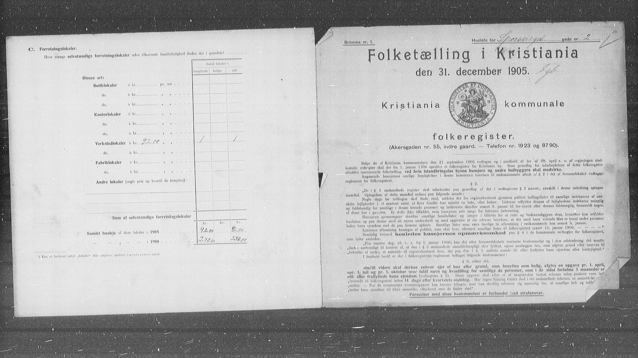 OBA, Municipal Census 1905 for Kristiania, 1905, p. 52010