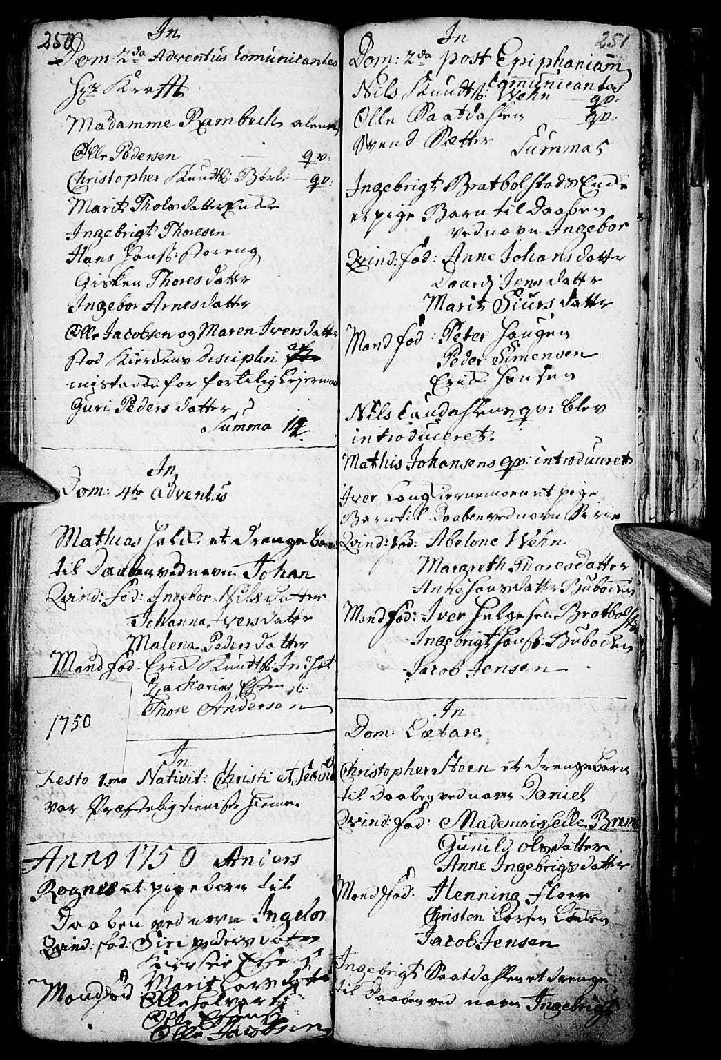 SAH, Kvikne prestekontor, Parish register (official) no. 1, 1740-1756, p. 250-251