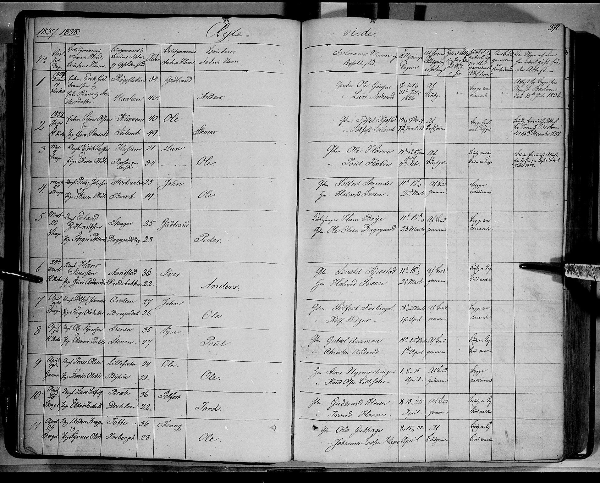 SAH, Lom prestekontor, K/L0006: Parish register (official) no. 6B, 1837-1863, p. 371
