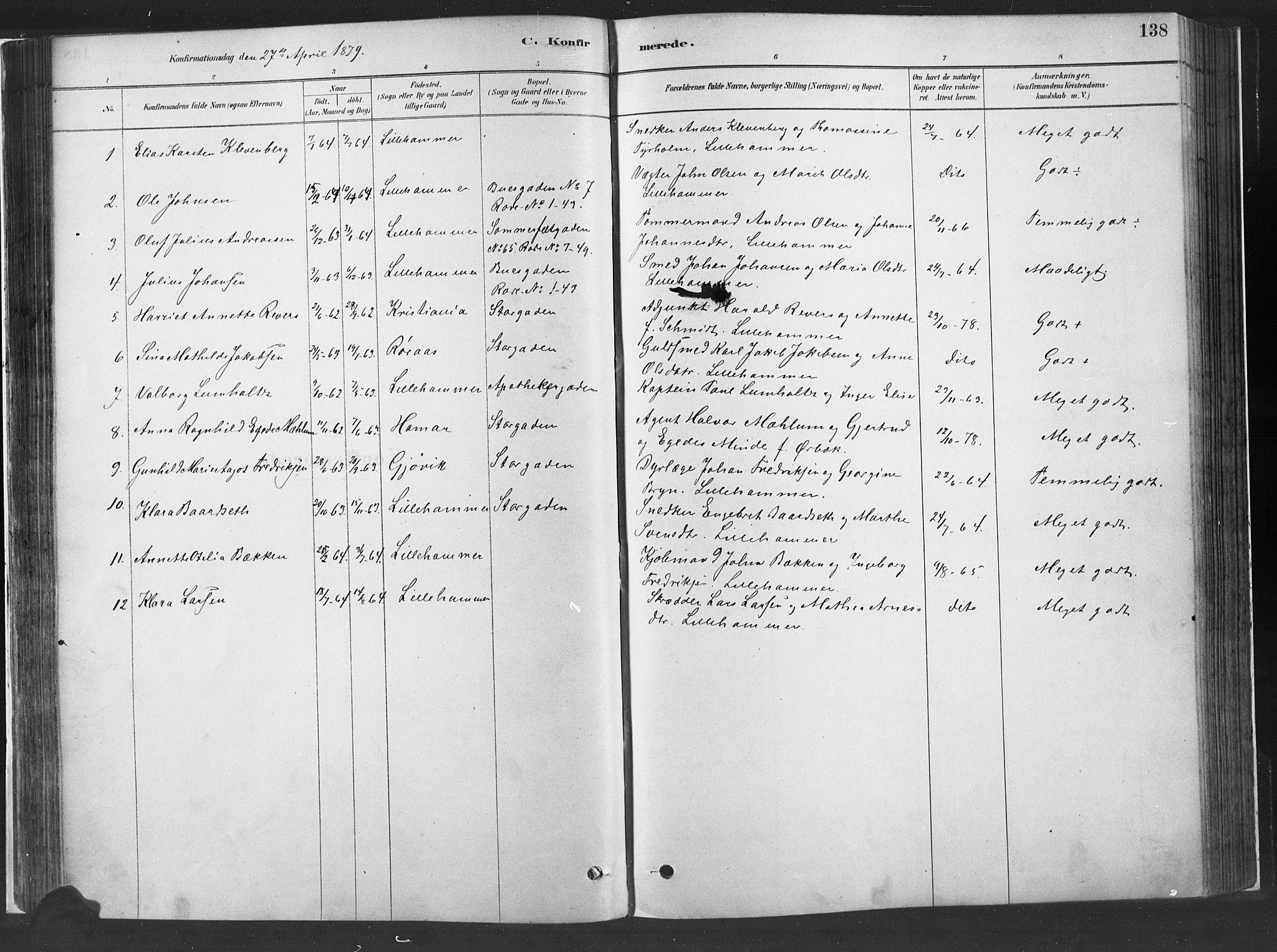 SAH, Fåberg prestekontor, H/Ha/Haa/L0010: Parish register (official) no. 10, 1879-1900, p. 138