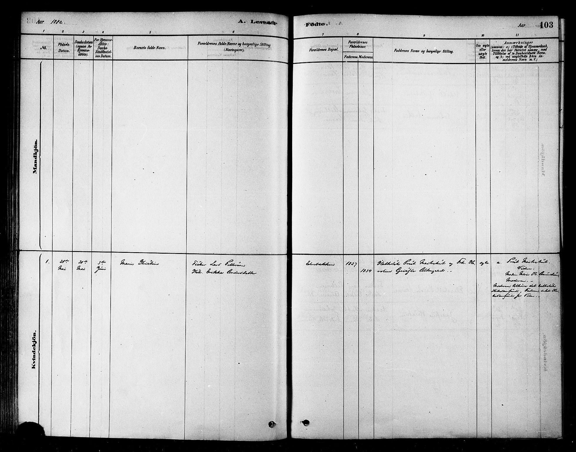 SATØ, Alta sokneprestembete, Parish register (official) no. 2, 1879-1892, p. 103