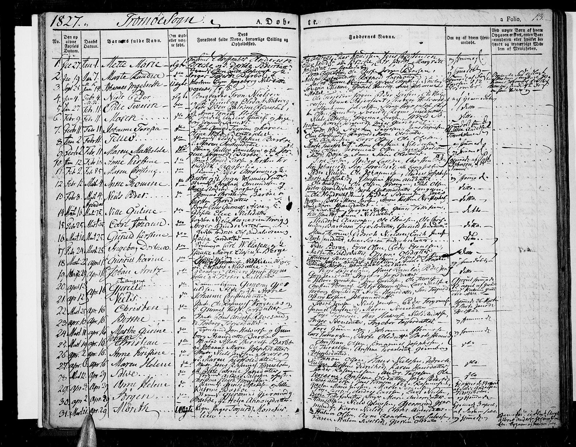 SAK, Tromøy sokneprestkontor, F/Fa/L0003: Parish register (official) no. A 3, 1825-1837, p. 13