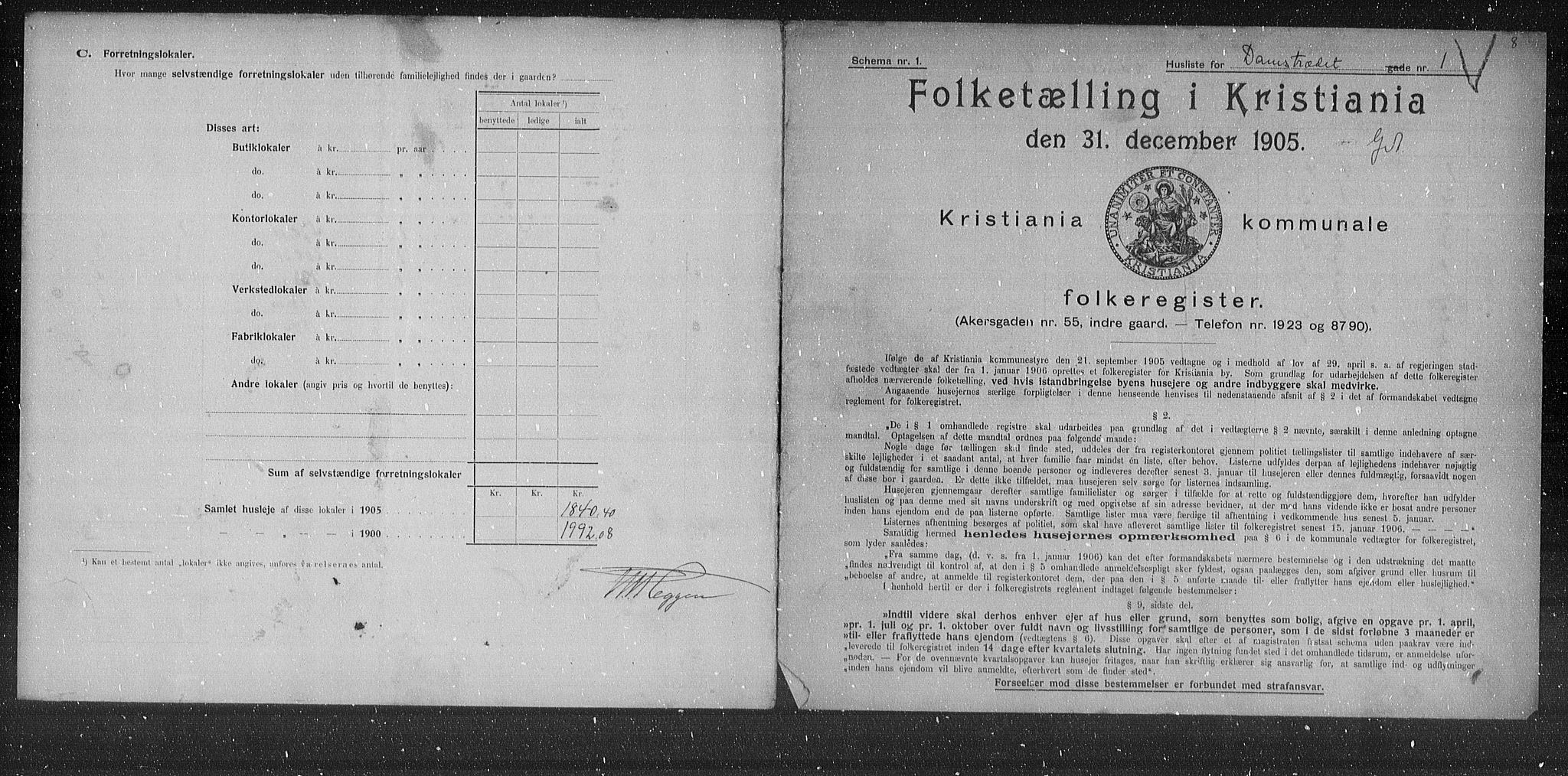 OBA, Municipal Census 1905 for Kristiania, 1905, p. 7460