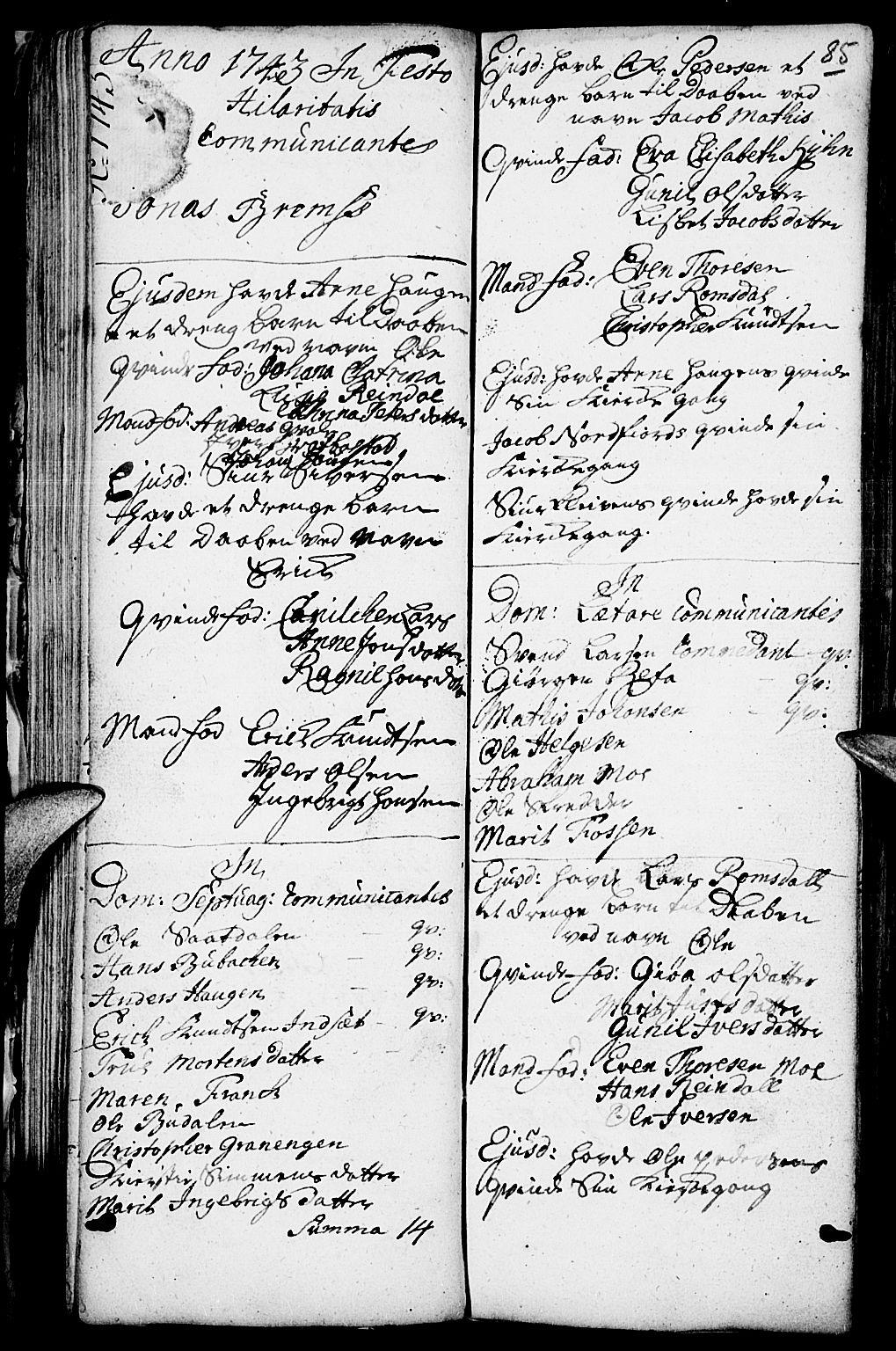 SAH, Kvikne prestekontor, Parish register (official) no. 1, 1740-1756, p. 84-85