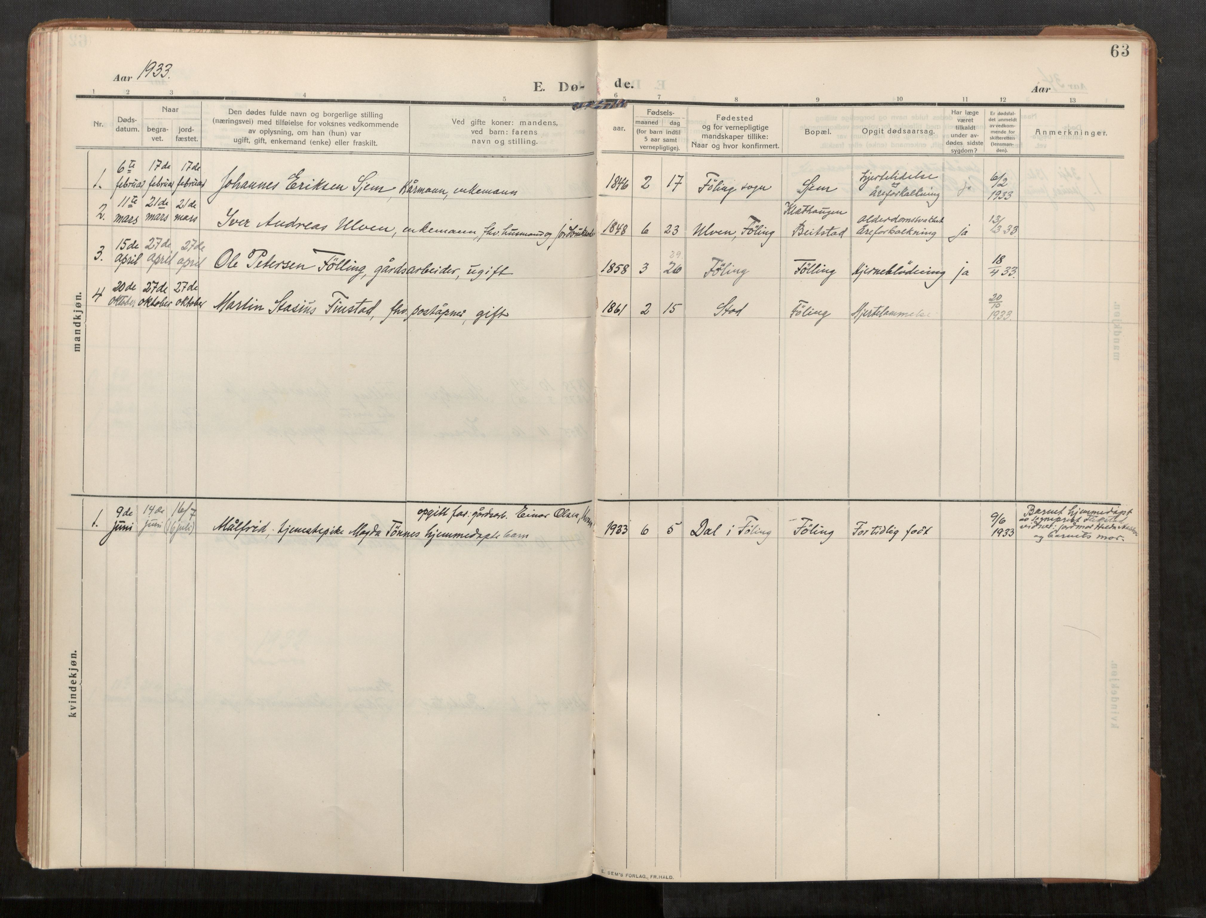 SAT, Stod sokneprestkontor, I/I1/I1a/L0003: Parish register (official) no. 3, 1909-1934, p. 63