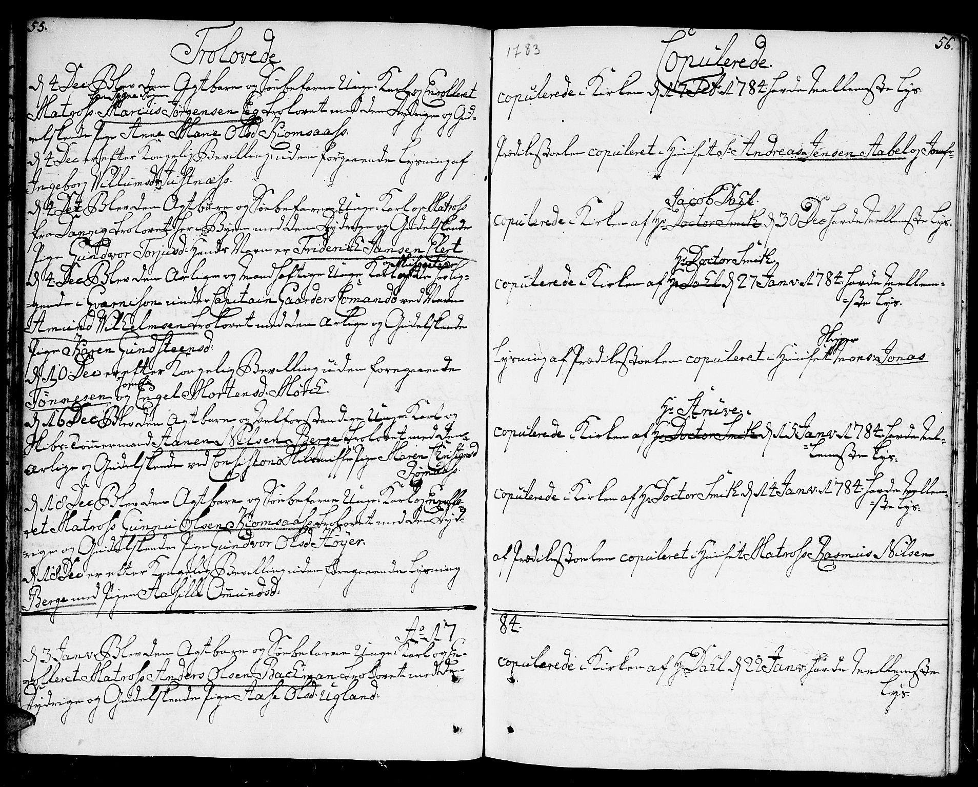 SAK, Kristiansand domprosti, F/Fa/L0005: Parish register (official) no. A 5, 1776-1818, p. 55-56