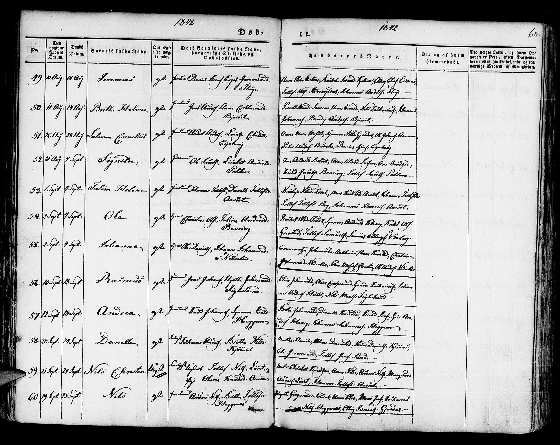 SAB, Jølster sokneprestembete, H/Haa/Haaa/L0009: Parish register (official) no. A 9, 1833-1848, p. 60