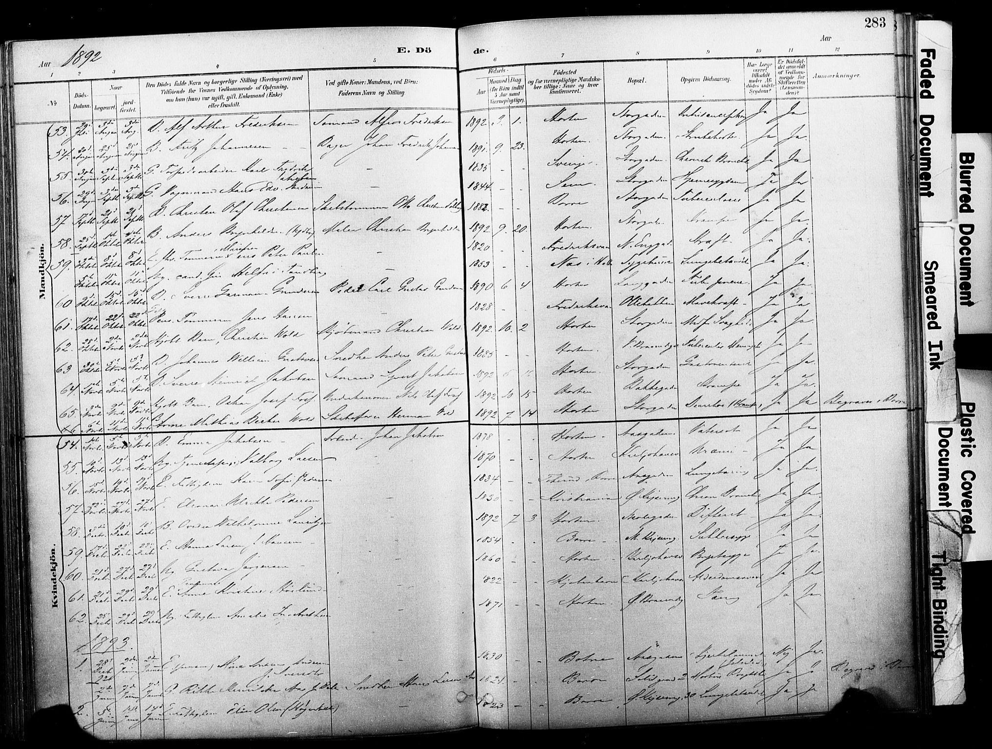 SAKO, Horten kirkebøker, F/Fa/L0004: Parish register (official) no. 4, 1888-1895, p. 283