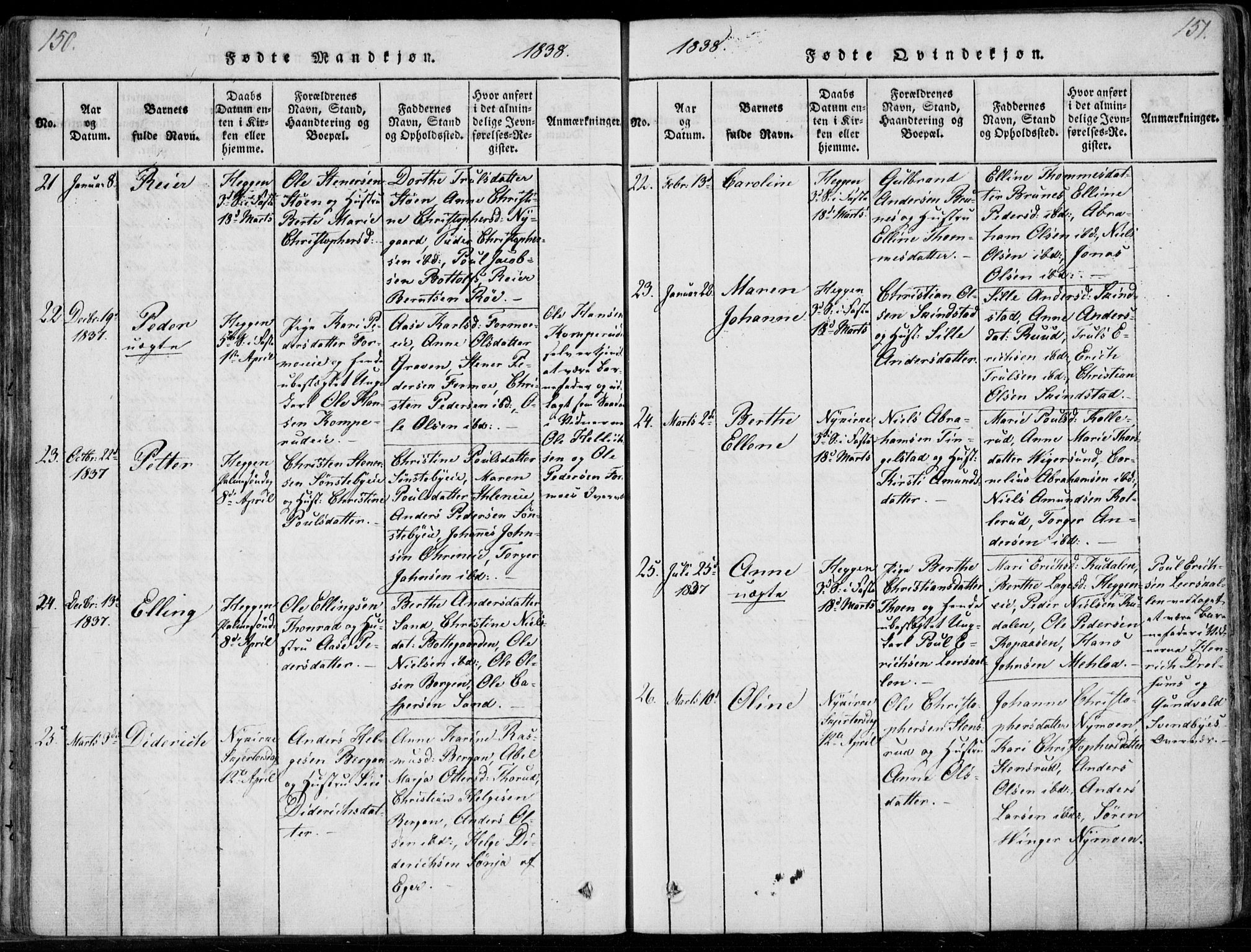 SAKO, Modum kirkebøker, F/Fa/L0006: Parish register (official) no. 6, 1832-1841, p. 150-151