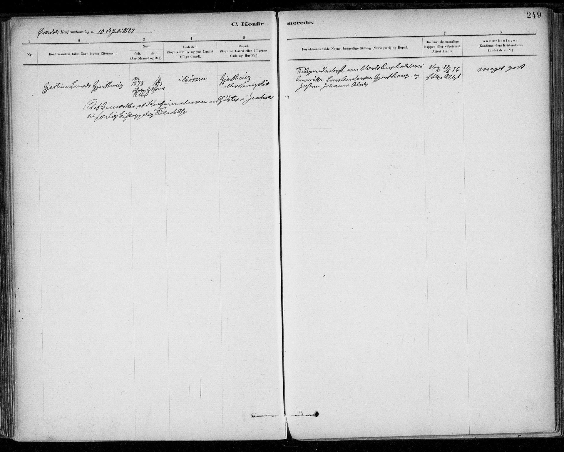 SAT, Ministerialprotokoller, klokkerbøker og fødselsregistre - Sør-Trøndelag, 668/L0809: Parish register (official) no. 668A09, 1881-1895, p. 249