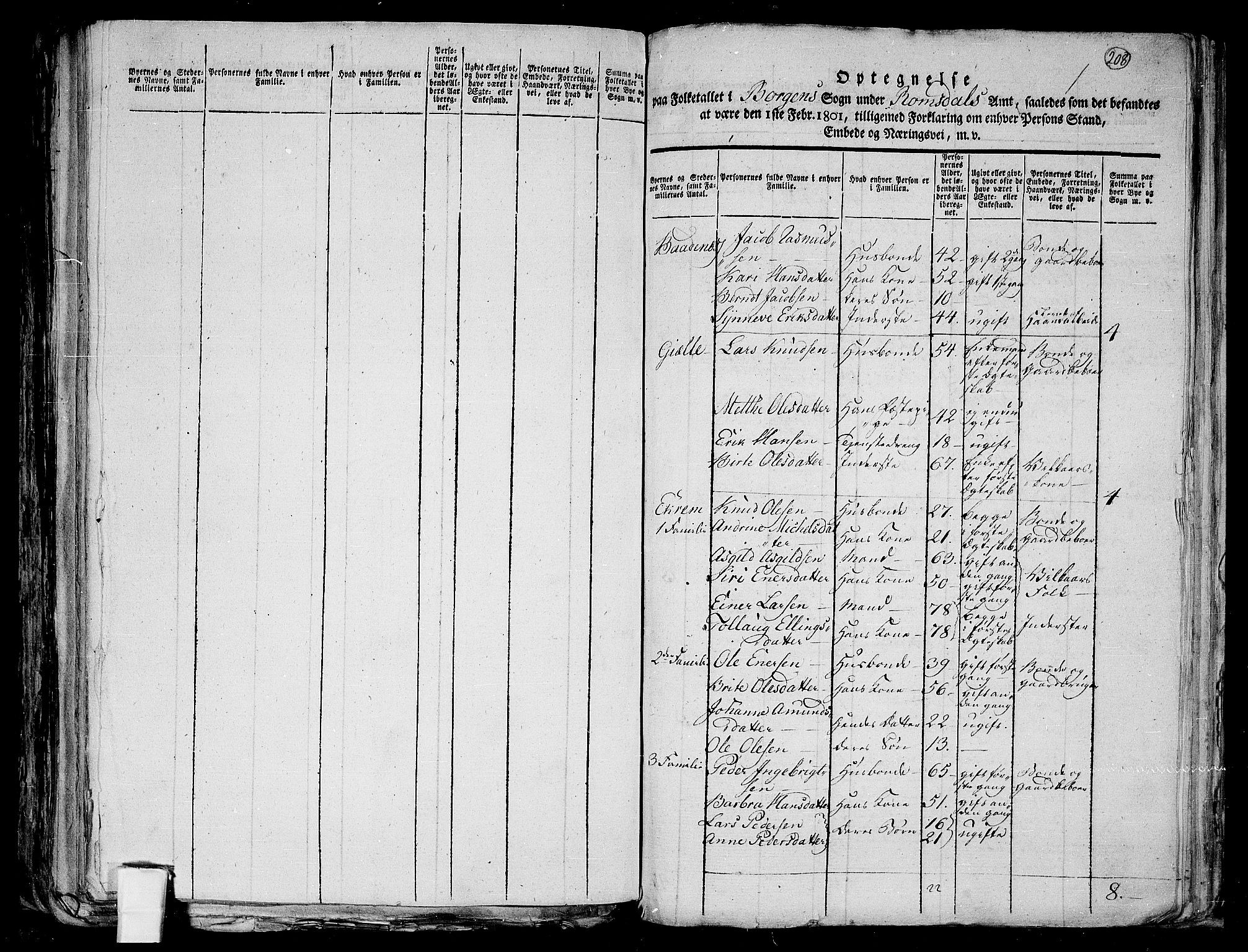 RA, 1801 census for 1531P Borgund, 1801, p. 207b-208a