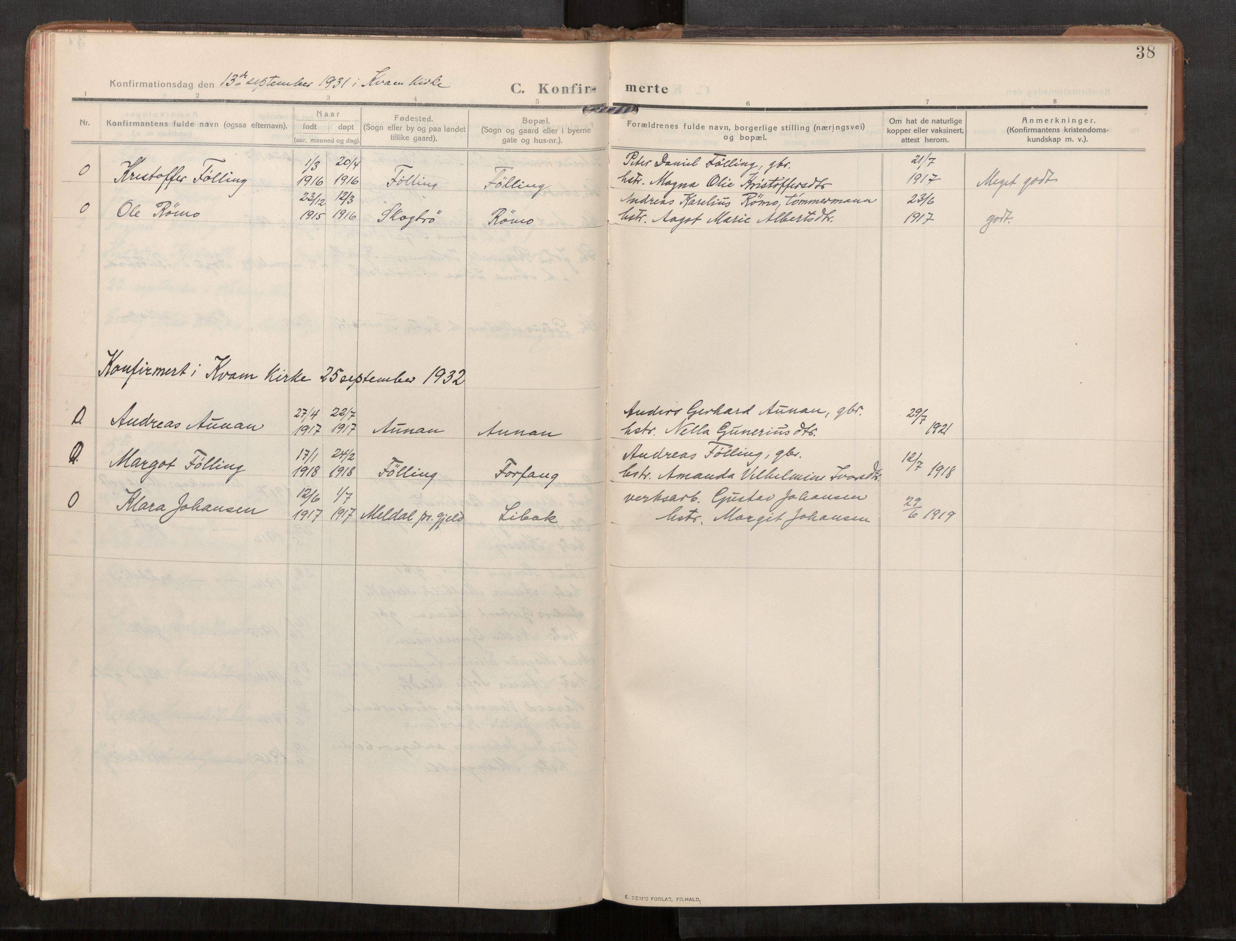 SAT, Stod sokneprestkontor, I/I1/I1a/L0003: Parish register (official) no. 3, 1909-1934, p. 38