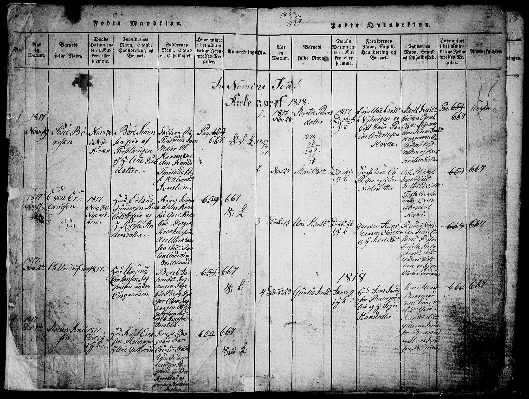 SAH, Gausdal prestekontor, Parish register (copy) no. 1, 1817-1848, p. 2-3