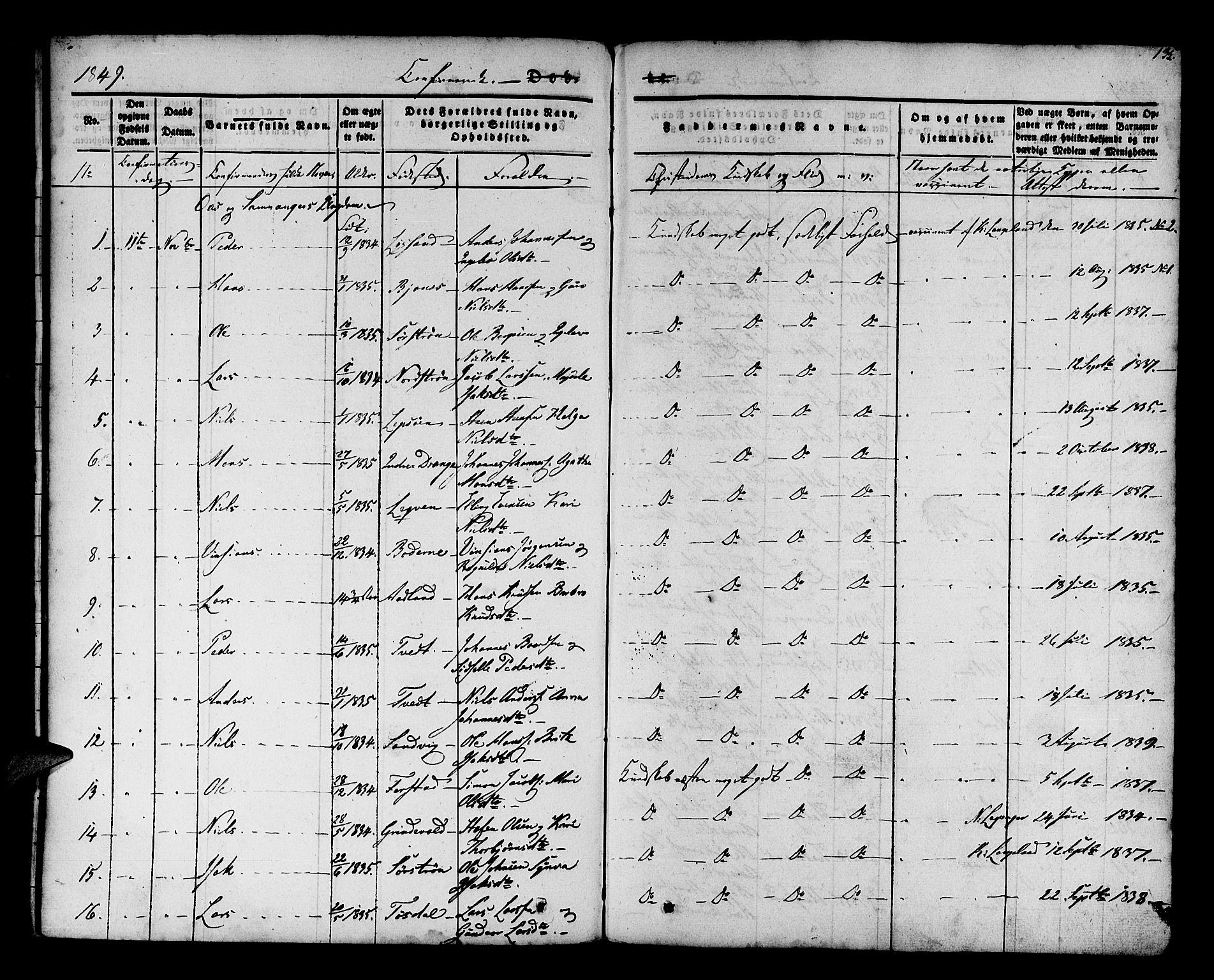 SAB, Os sokneprestembete*, Parish register (official) no. A 15, 1839-1851, p. 135