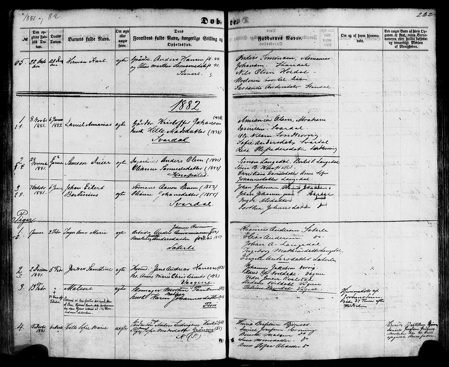 SAB, Kinn Sokneprestembete, Parish register (official) no. A 6, 1857-1885, p. 262