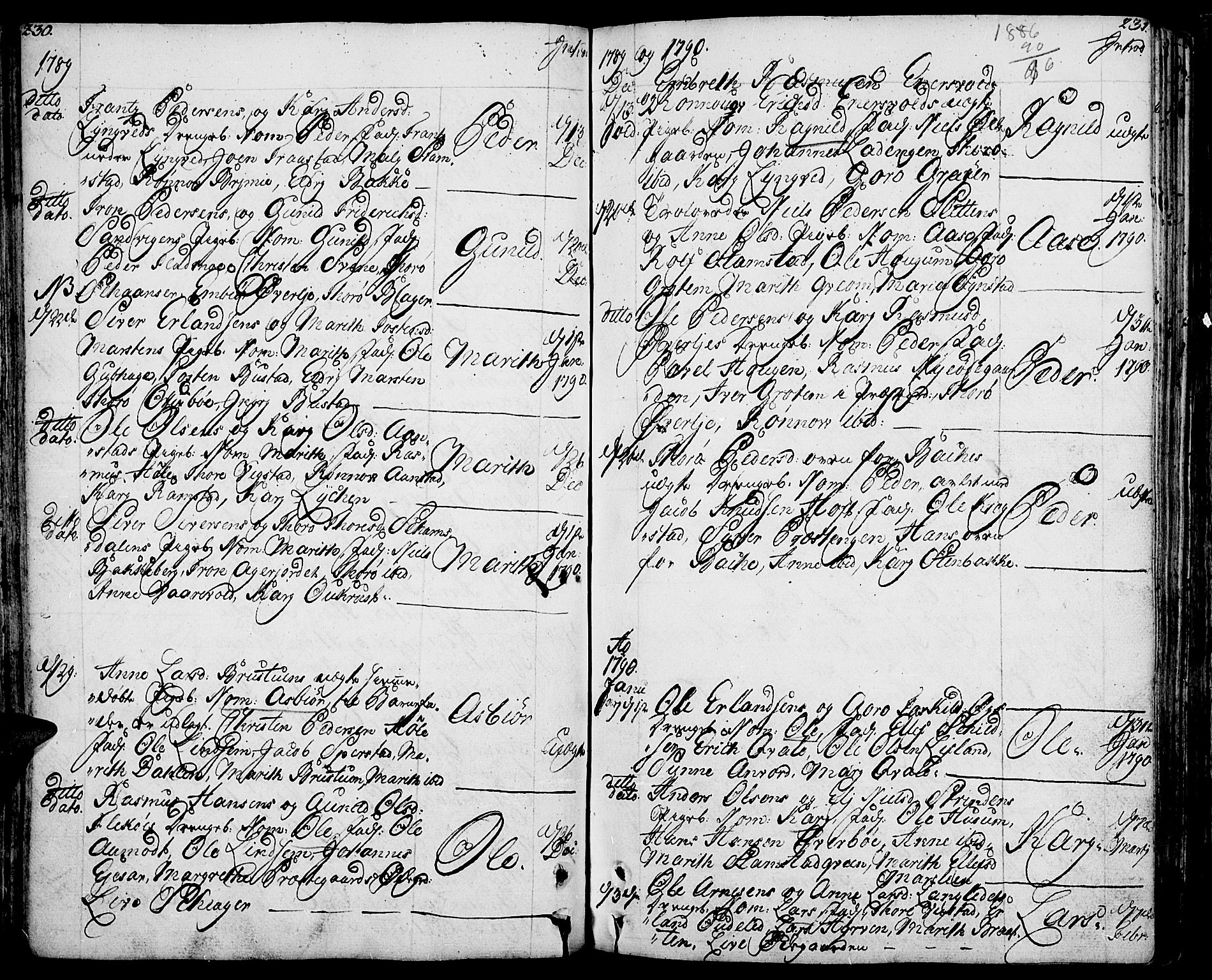 SAH, Lom prestekontor, K/L0002: Parish register (official) no. 2, 1749-1801, p. 230-231