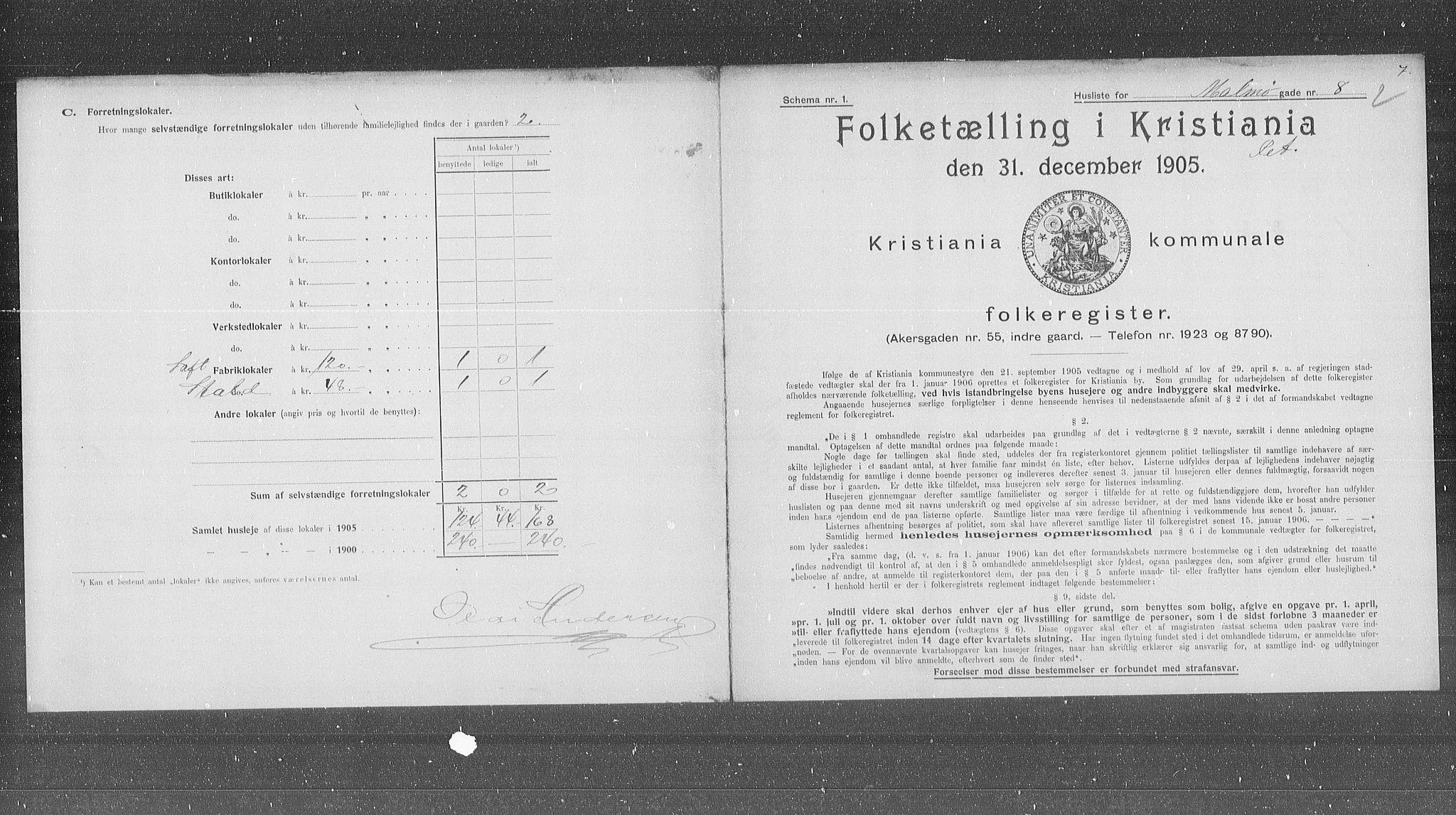 OBA, Municipal Census 1905 for Kristiania, 1905, p. 31490