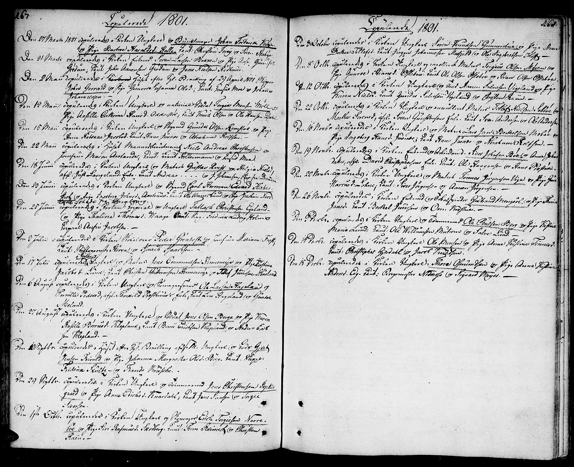 SAK, Kristiansand domprosti, F/Fa/L0005: Parish register (official) no. A 5, 1776-1818, p. 167-168