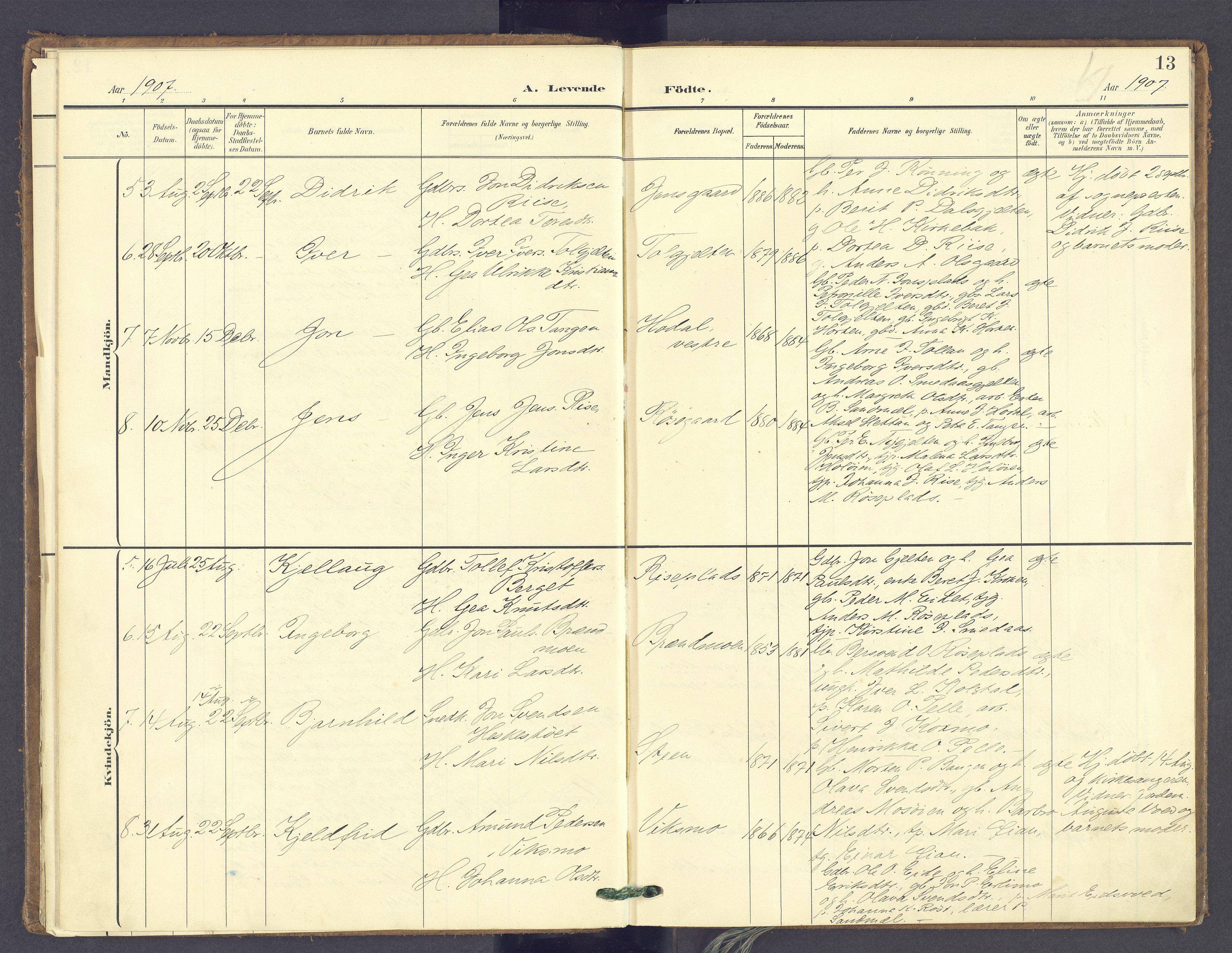 SAH, Tolga prestekontor, K/L0014: Parish register (official) no. 14, 1903-1929, p. 13