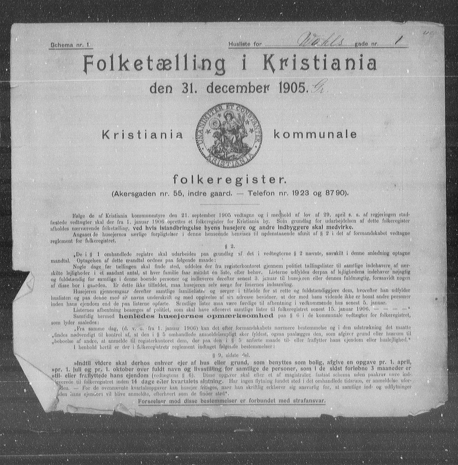 OBA, Municipal Census 1905 for Kristiania, 1905, p. 66234