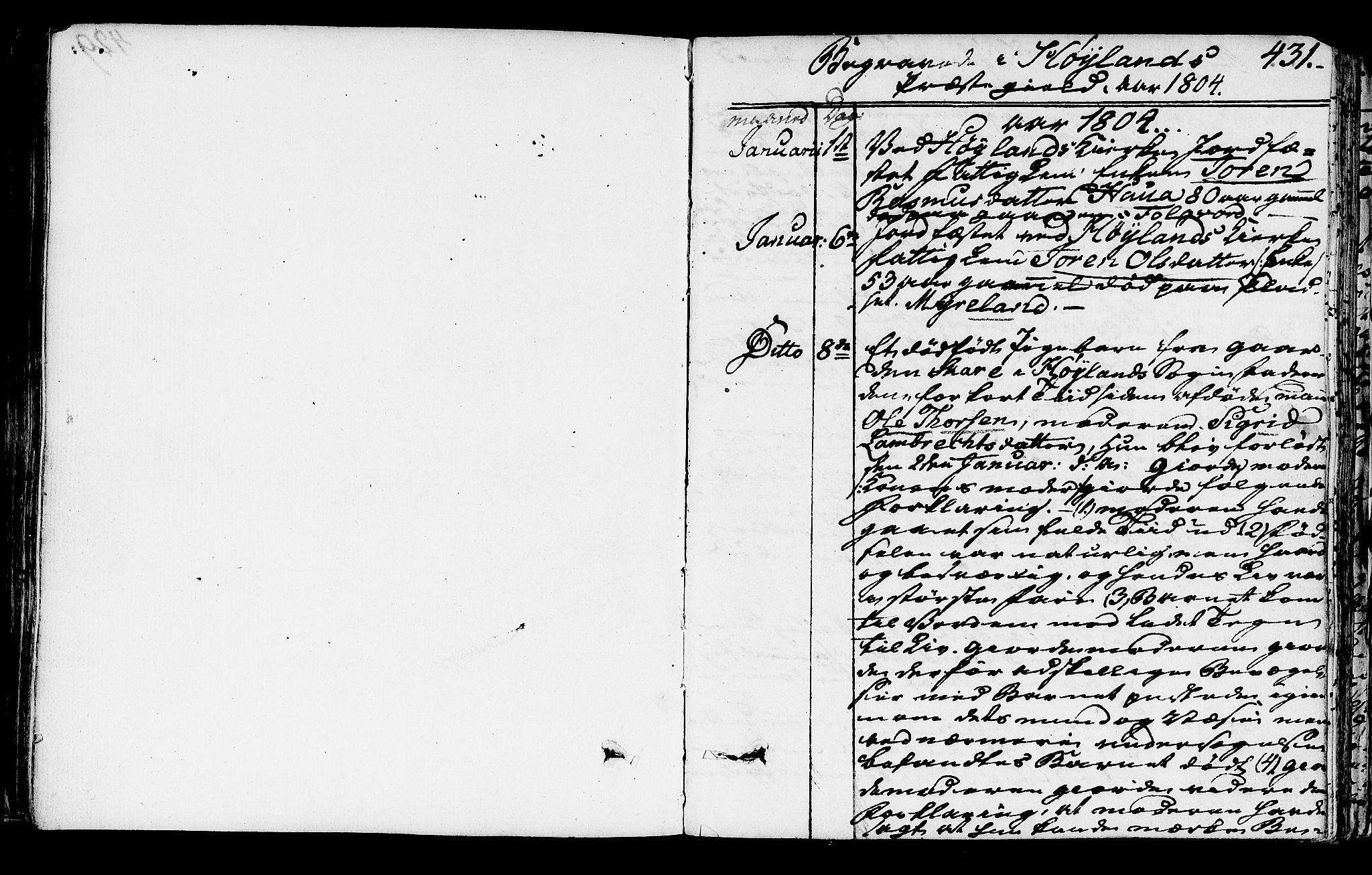 SAST, Høyland sokneprestkontor, 30BA/L0005: Parish register (official) no. A 5, 1804-1815, p. 431