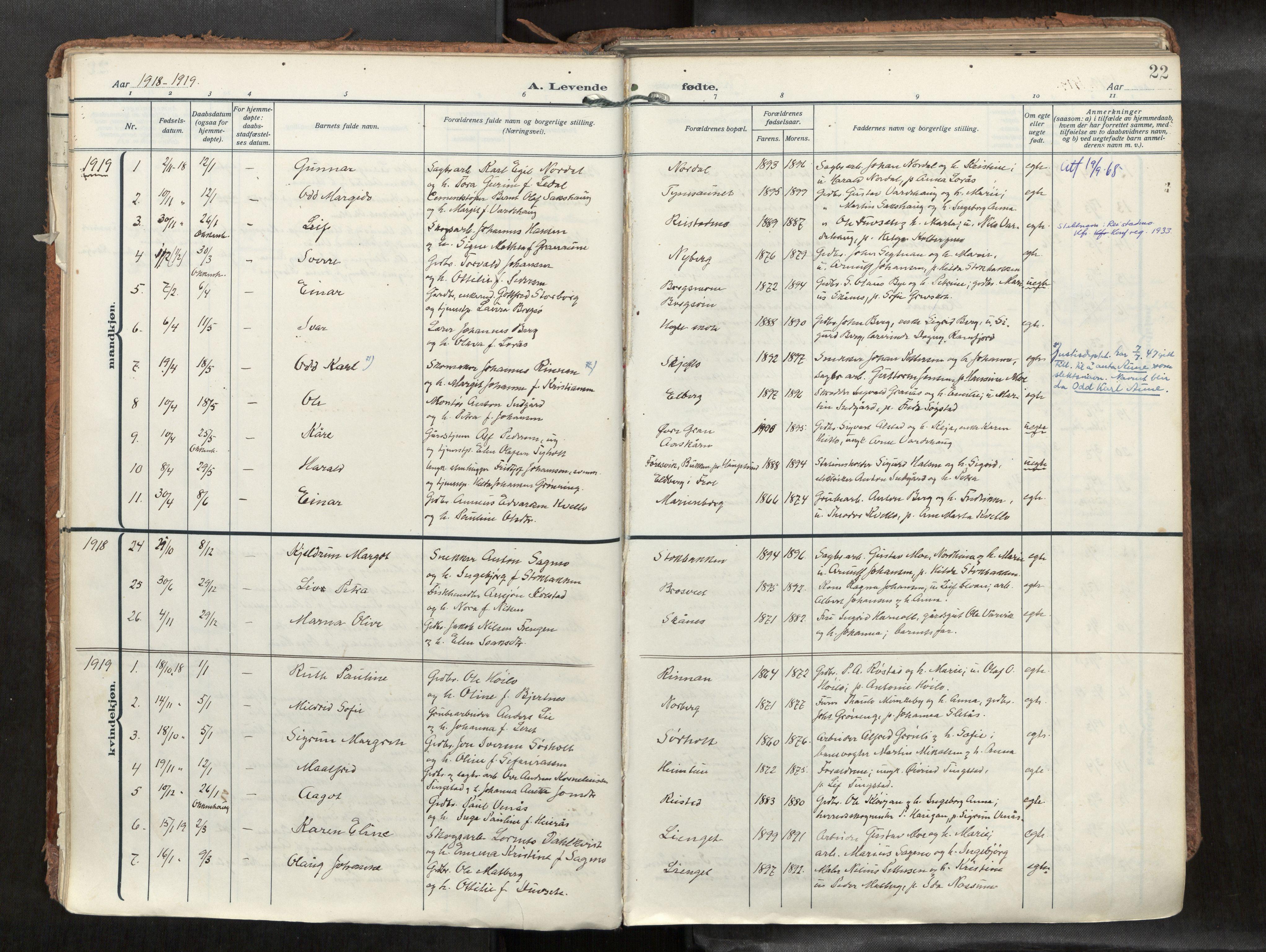 SAT, Levanger sokneprestkontor*, Parish register (official) no. 1, 1912-1935, p. 22